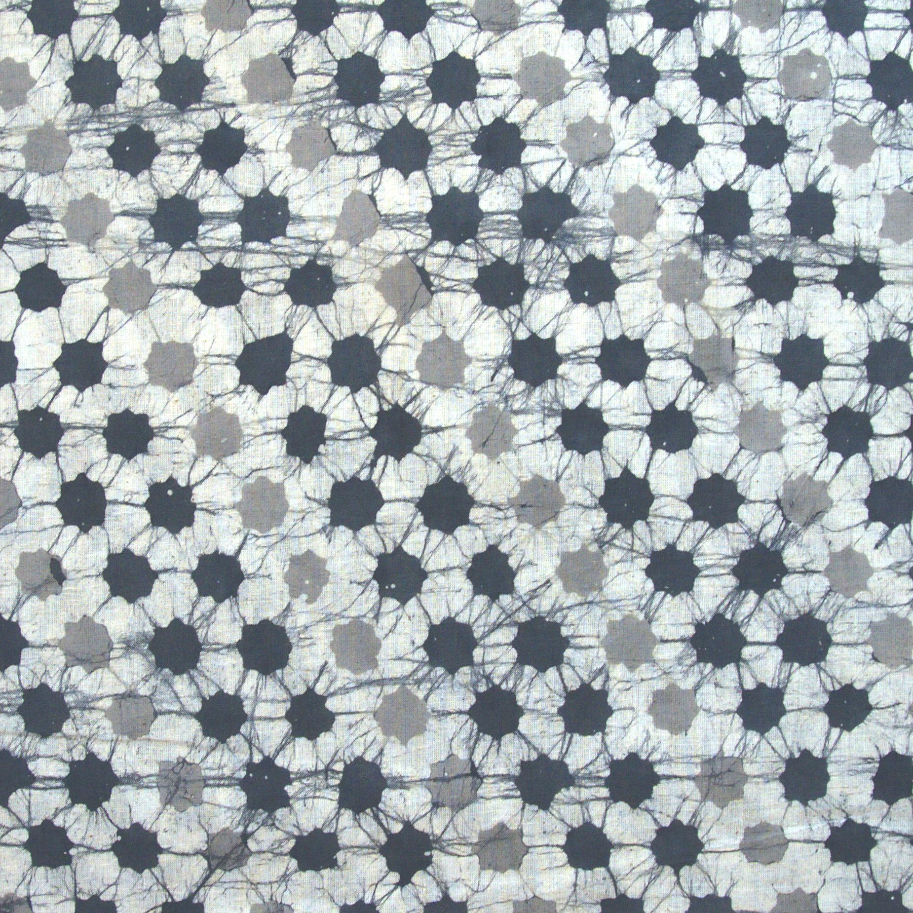 2 - SHA05 - 100% Block-Printed Batik Cotton Fabric From India - Batik - Grey Stars