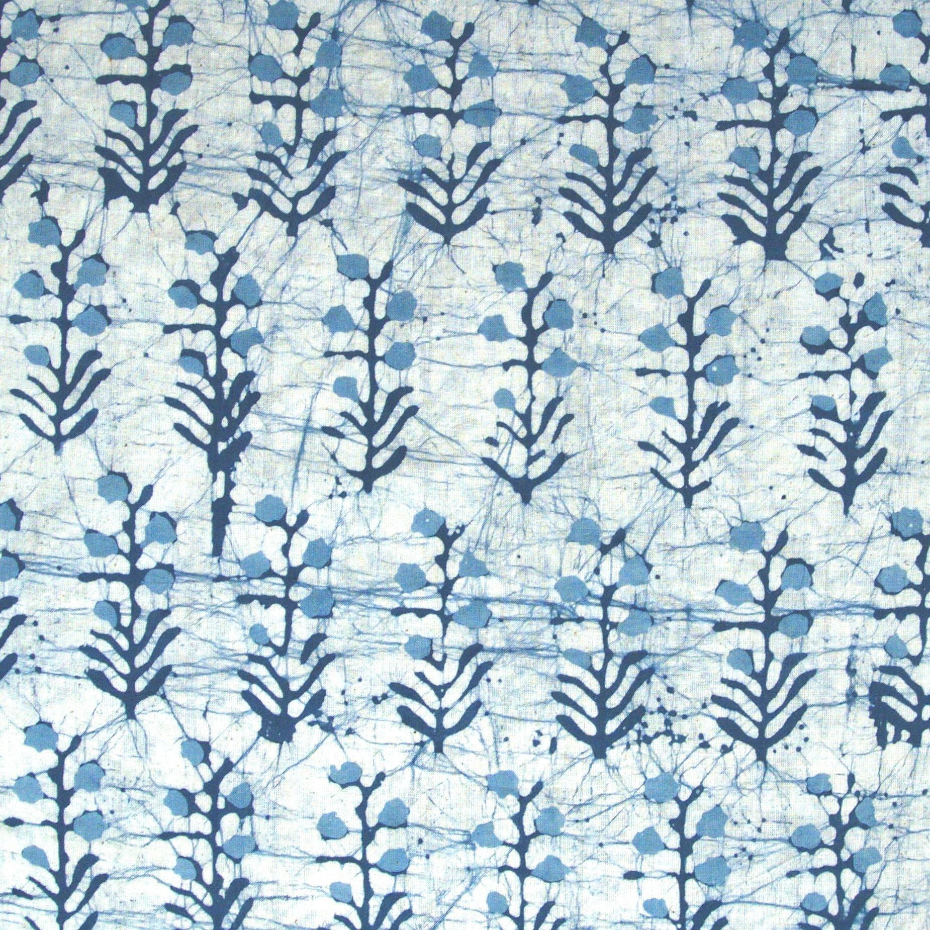 2 - SHA13 - 100% Block-Printed Batik Cotton Fabric From India - Batik - Blue Bhil Buto