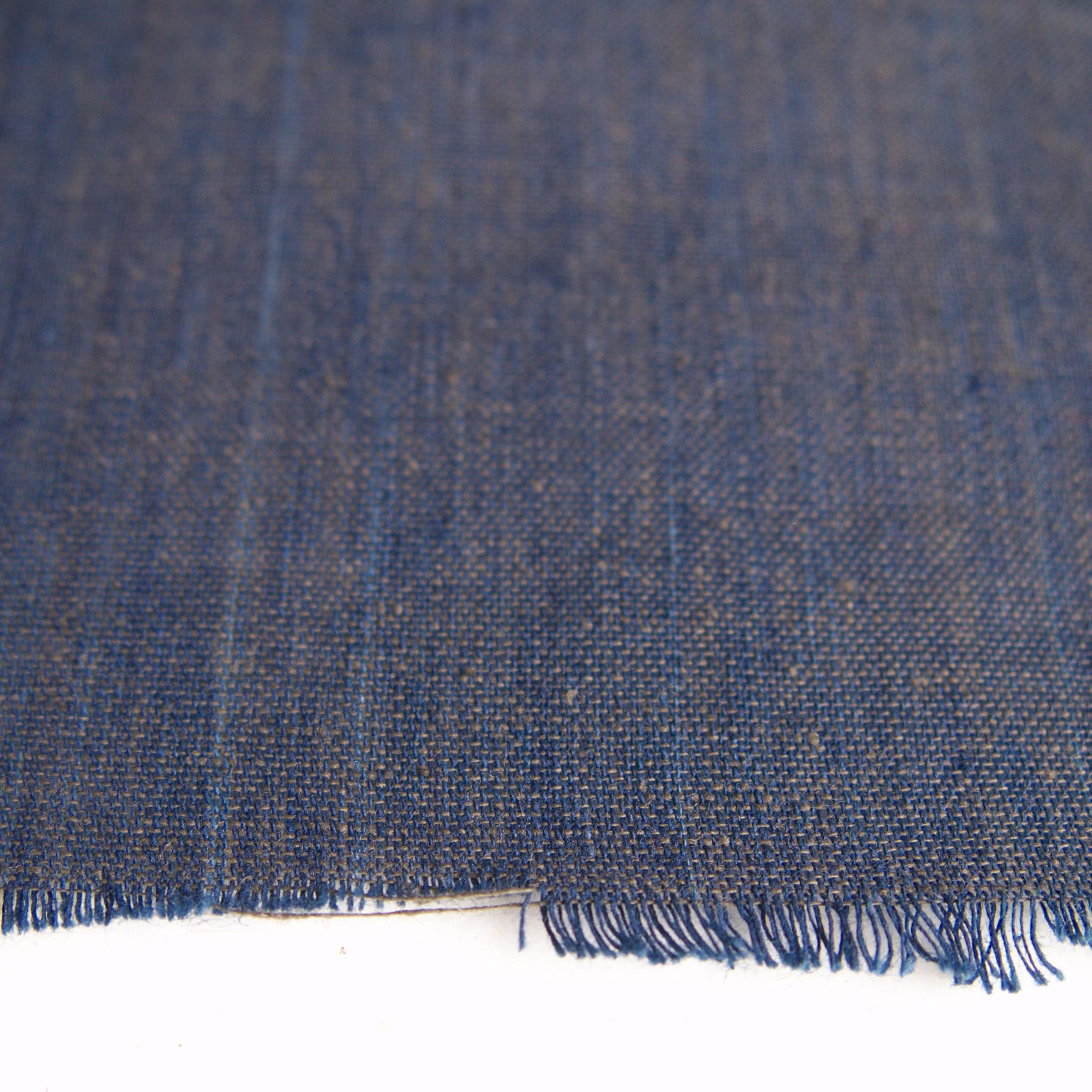 100% Handloom Woven Cotton - Natural Indigo Warp, Olive Green Weft - Cross Colour - Close Up