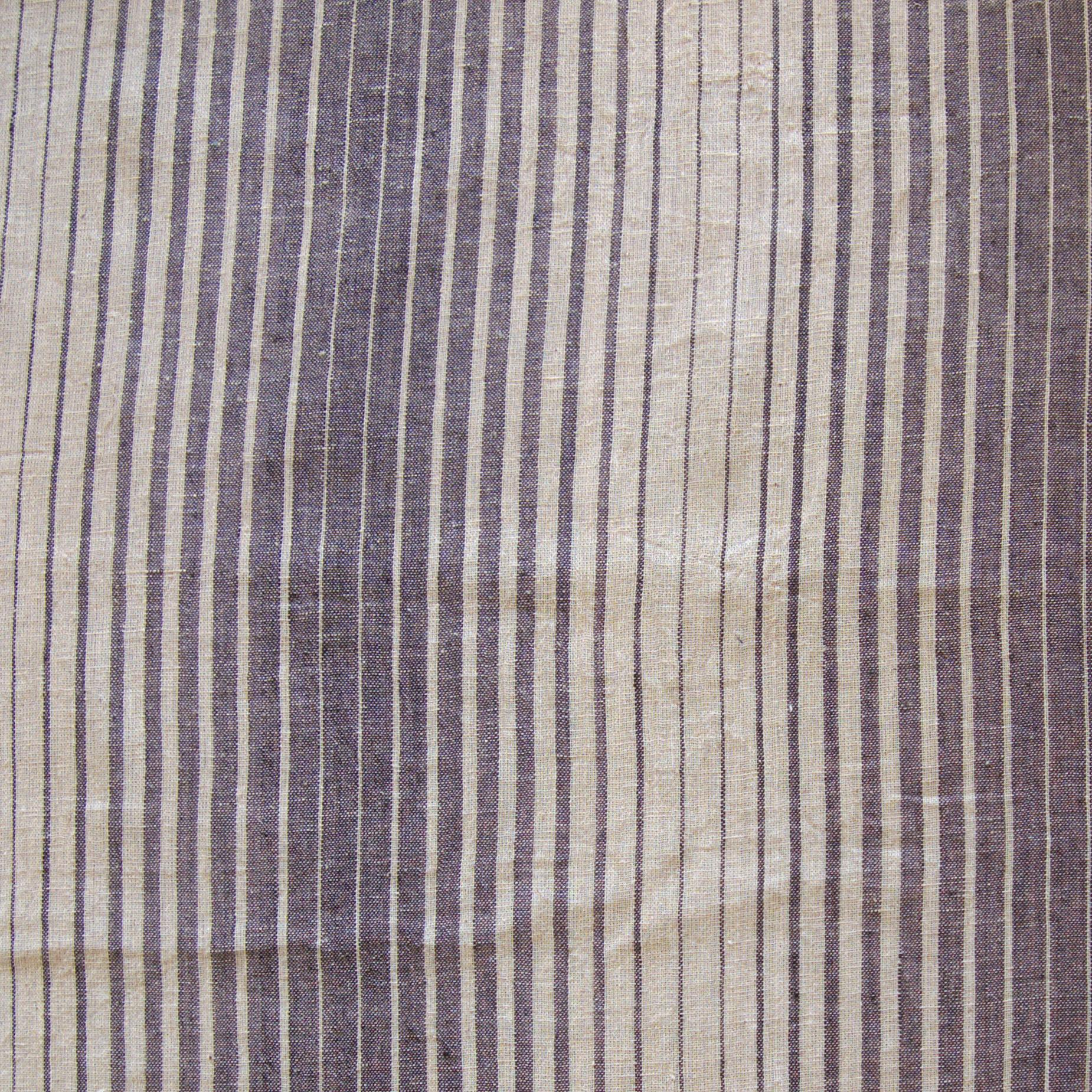 Organic Kala Cotton - Handloom Woven - Natural Dye - Charcoal Black - Fading Stripes - One By One - Flat