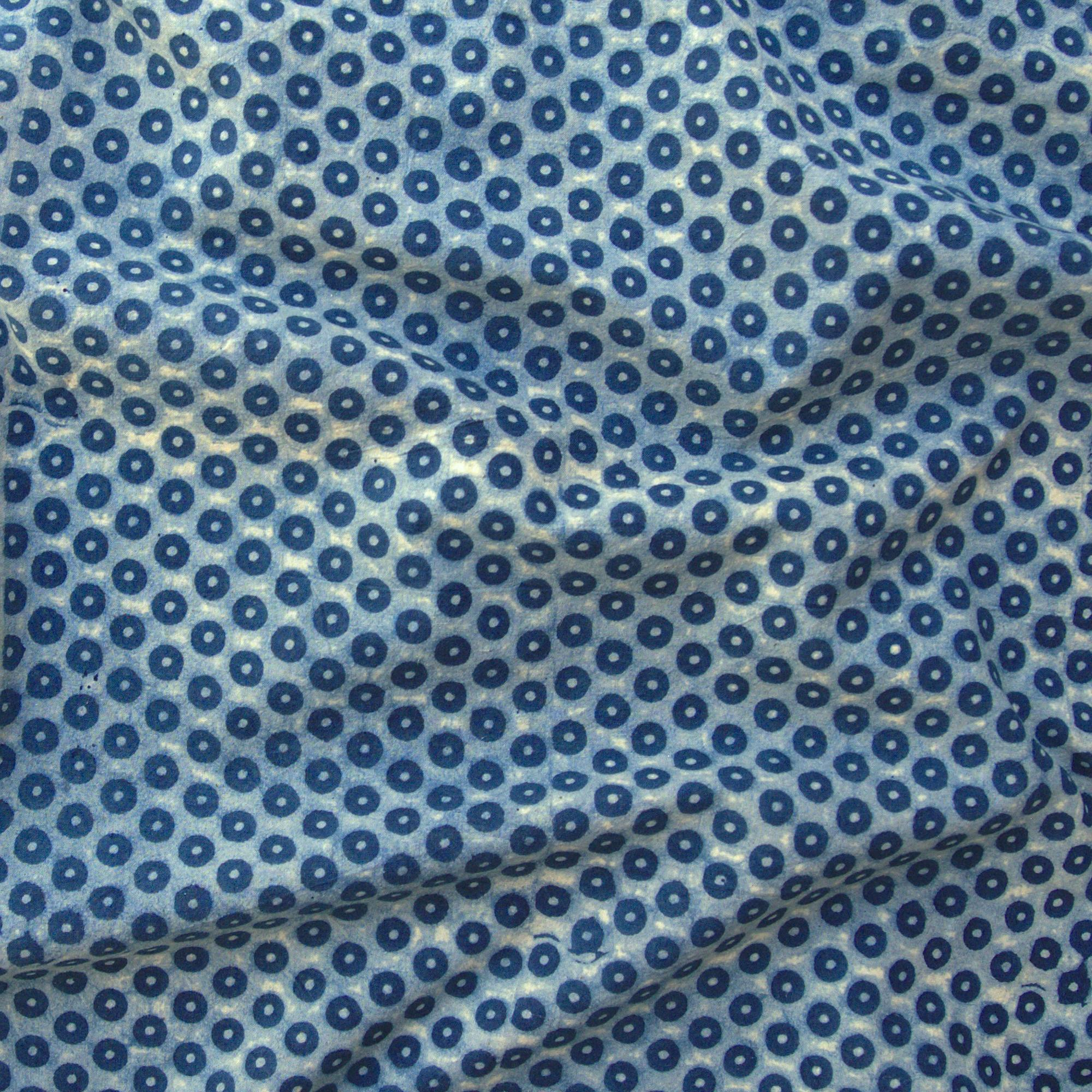 100% Block-Printed Cotton Fabric From India- Ajrak - Indigo White Resist Pins Print - Contrast