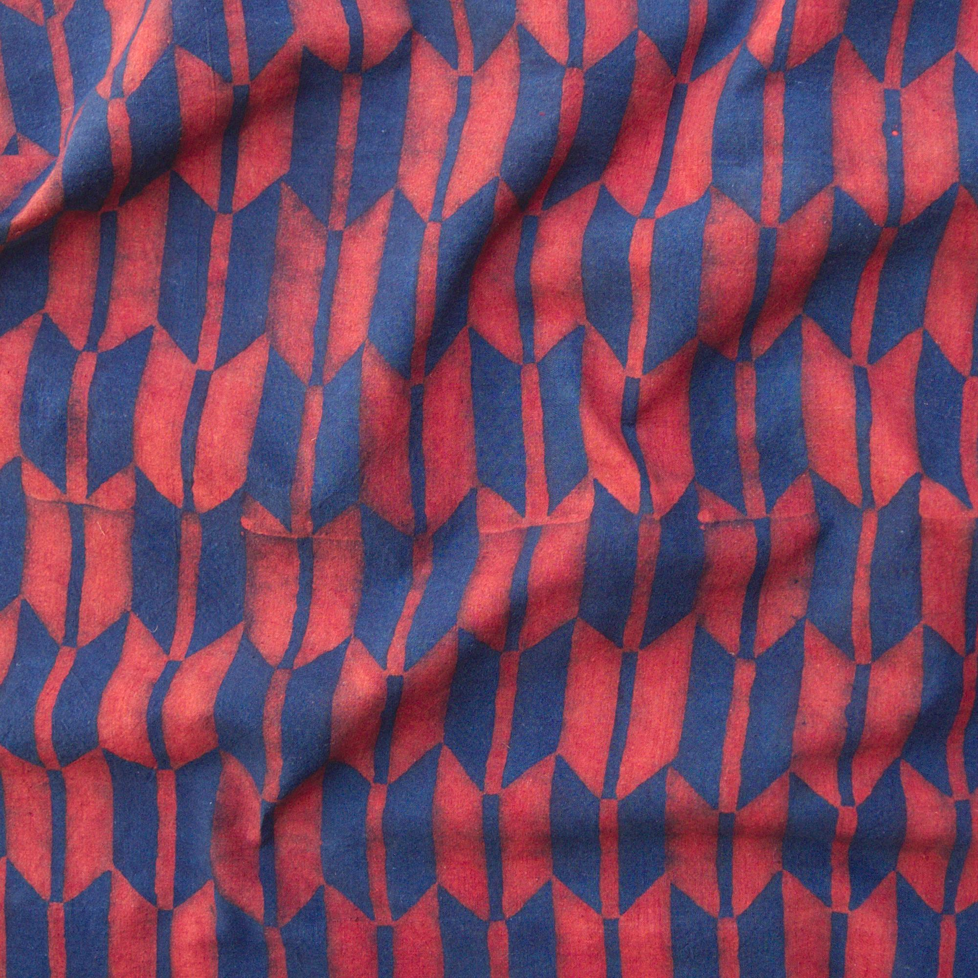 100% Block-Printed Cotton Fabric From India- Ajrak - Indigo Alizarin Fletching Print - Contrast