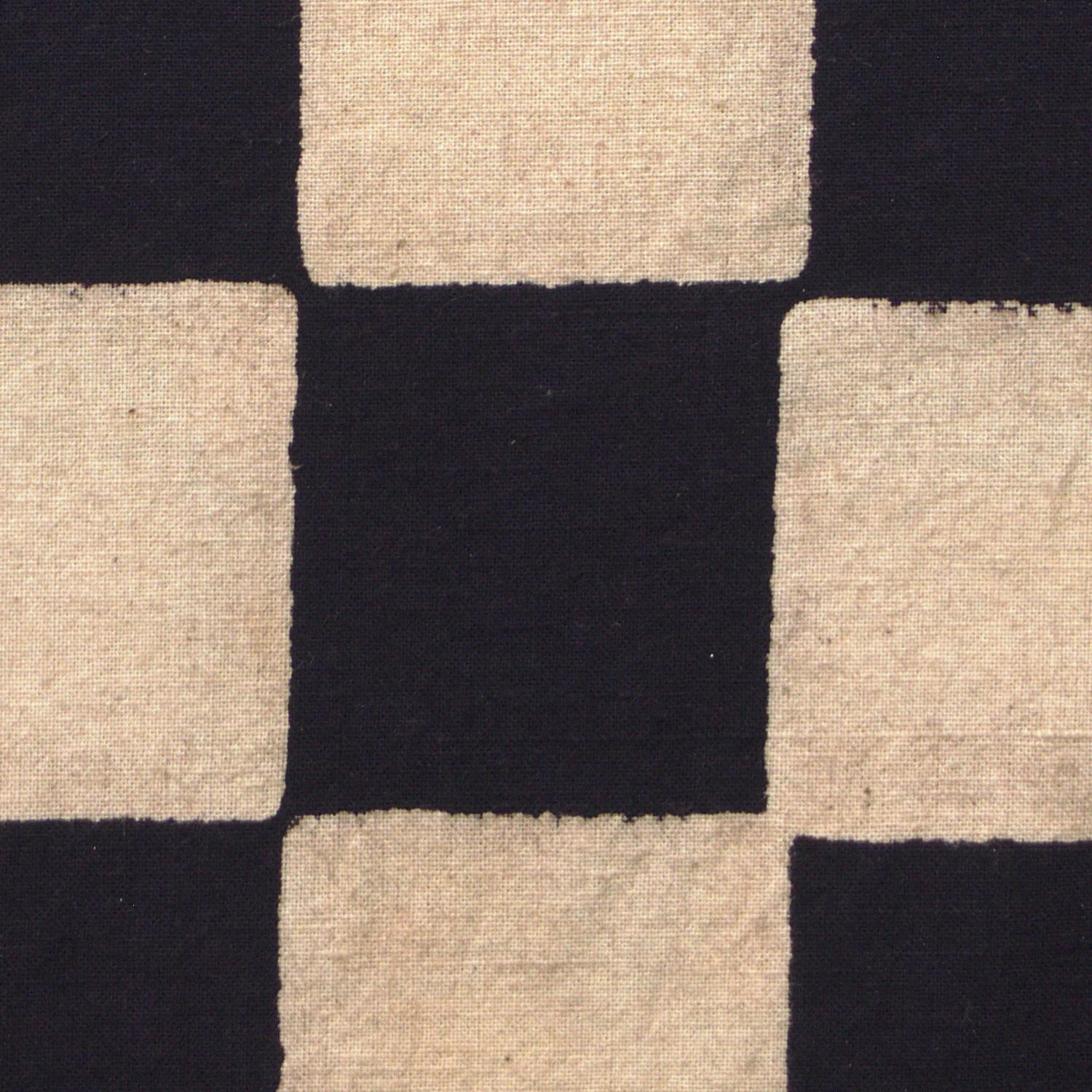 100% Block-Printed Cotton Fabric From India- Ajrak - Black White Resist Chequers Print - Close Up