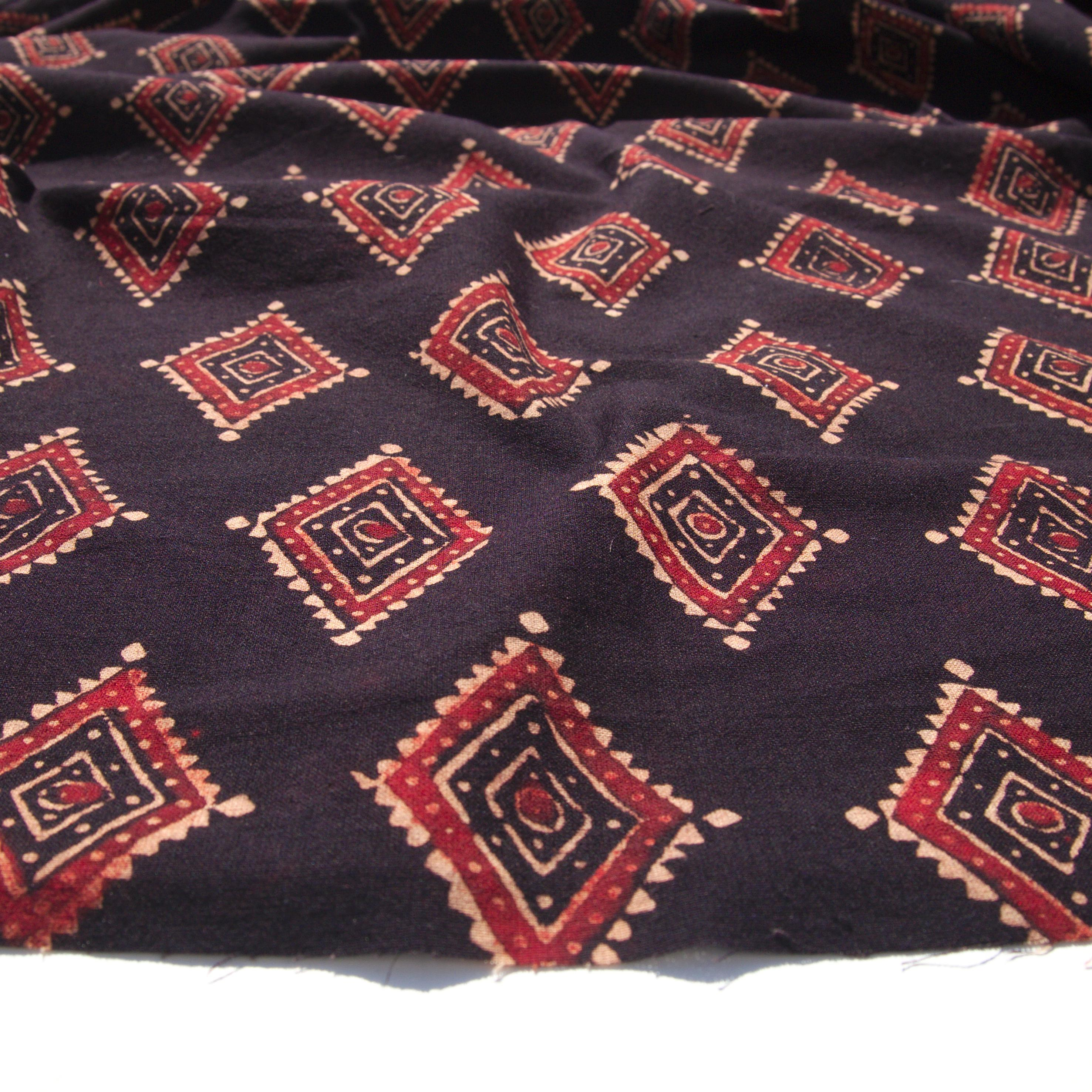 Block Printed Fabric, 100% Cotton, Ajrak Design: Black Base, Red, Beige Diamond. Angle