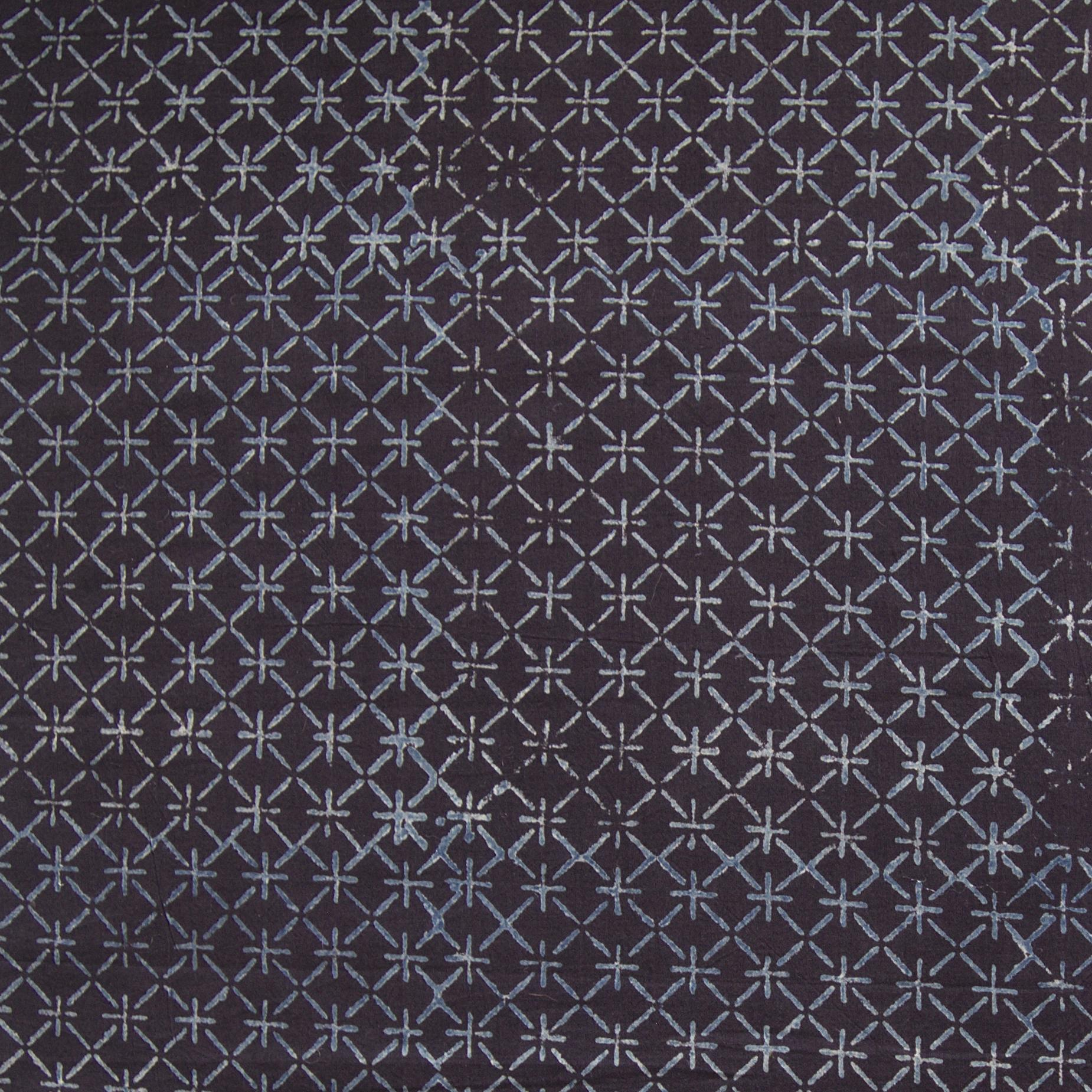 Block Printed Fabric, 100% Cotton, Ajrak Design: Black Base, Blue Sticks. Close Up