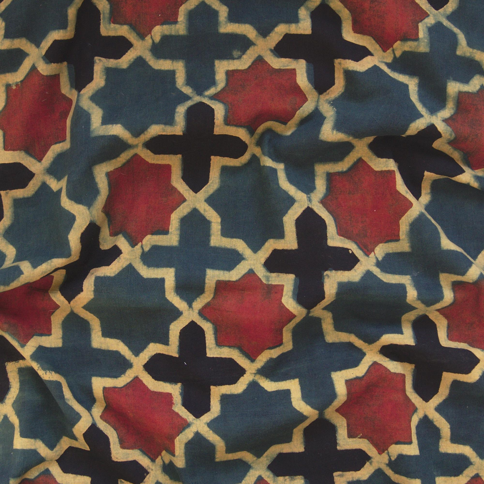 Block Printed Fabric, 100% Cotton, Ajrak Design: Green Base, Black, Yellow, Red Cross. Contrast