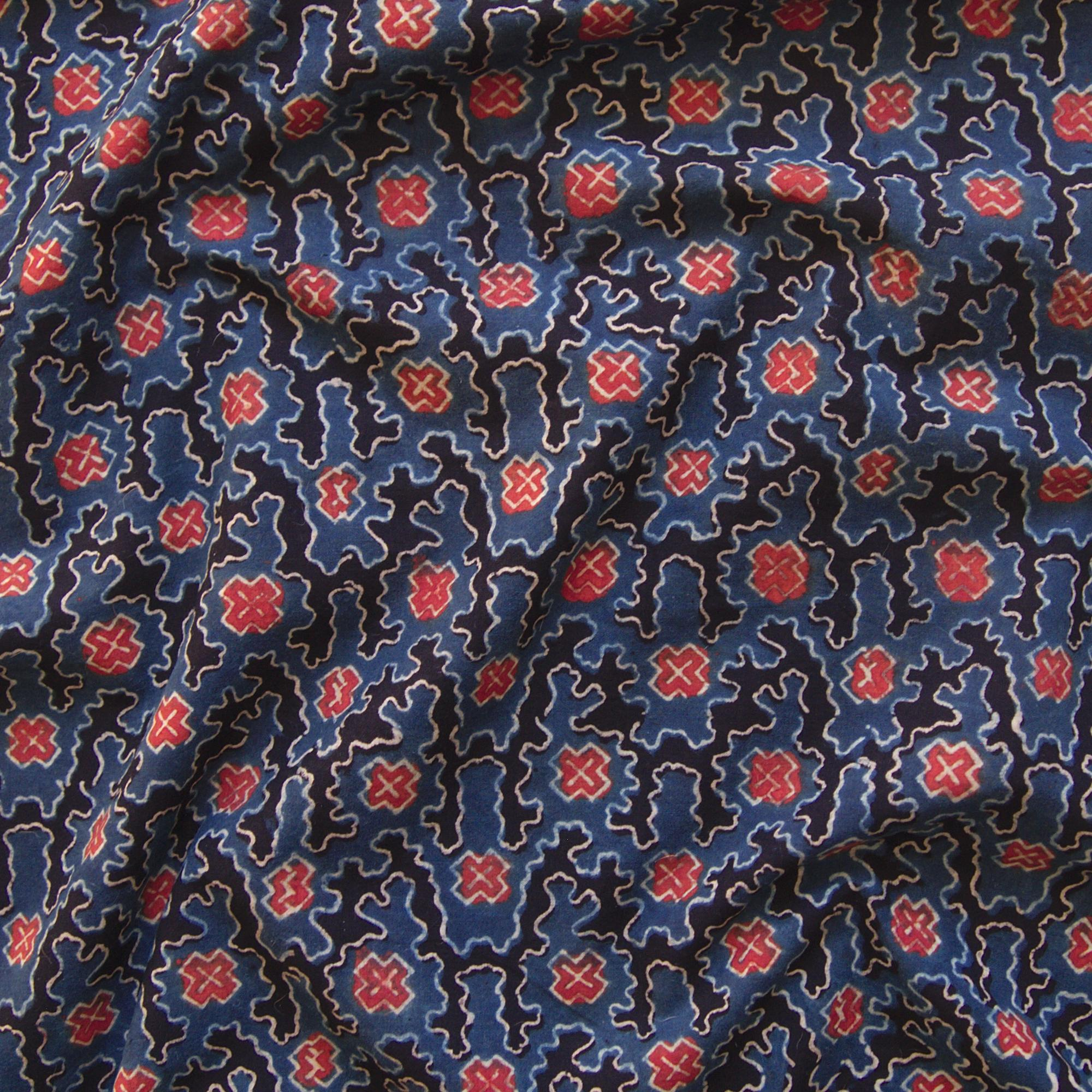 Block Printed Fabric, 100% Cotton, Ajrak Design: Indigo Blue Base, Black, Madder Red, White Cloud. Contrast