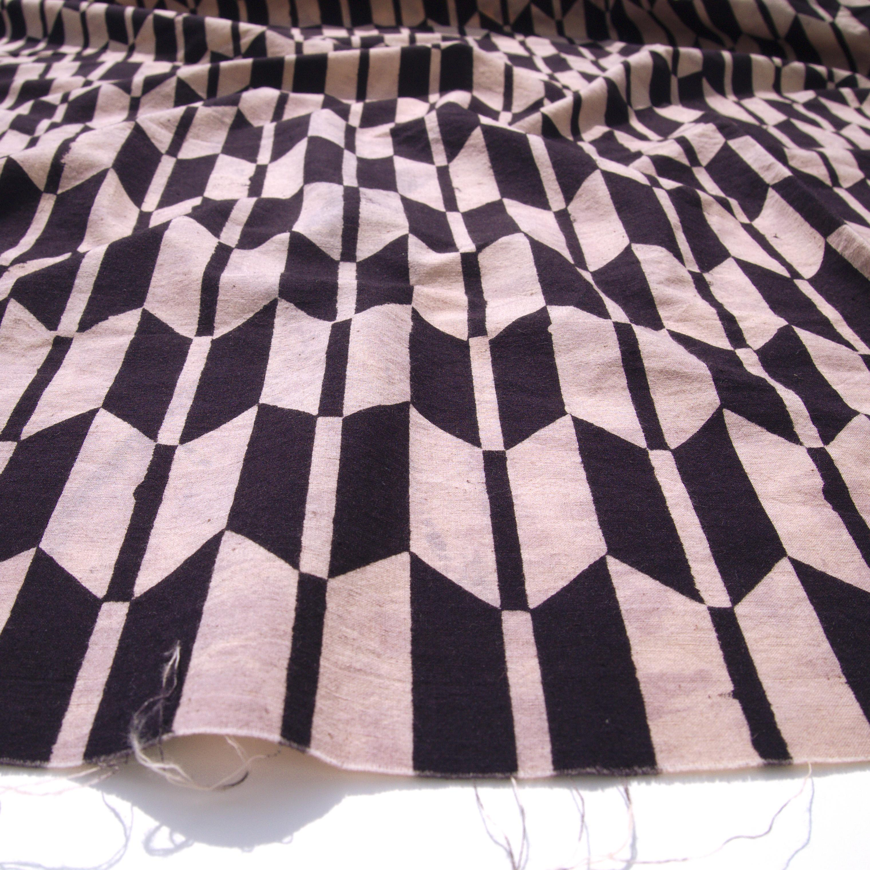 100% Block-Printed Cotton Fabric From India- Ajrak - Black White Resist Fletching Print - Angle