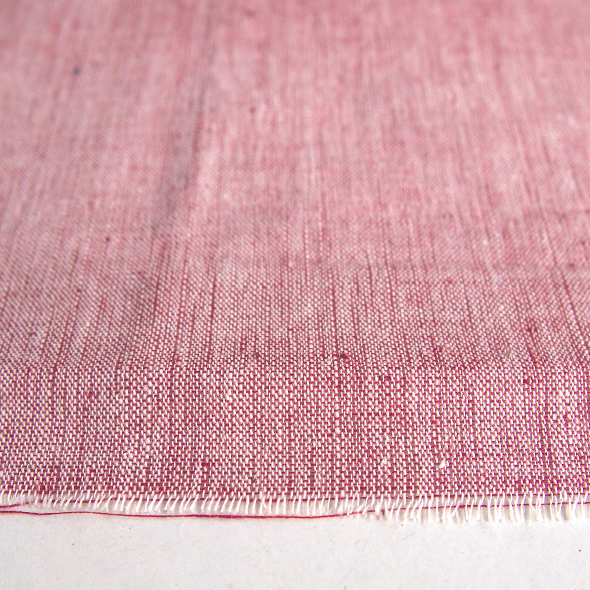 100 % Handloom Woven Cotton - Cross Colour - White Warp, Alizarin Weft - Close Up