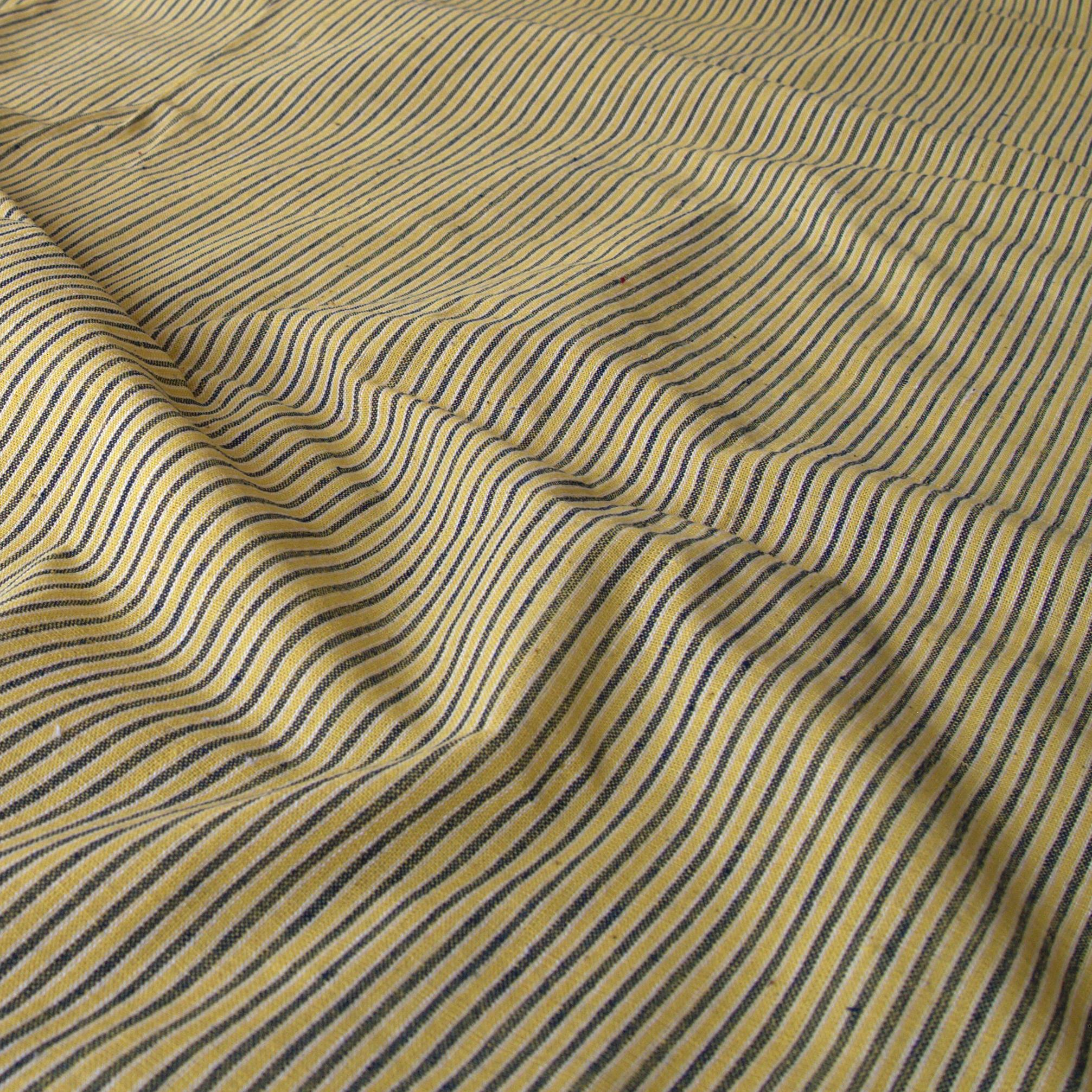 100% Handloom Cotton - Stripes - Pomegranate Yellow Warp & Weft, White and Indigo Warp - Contrast