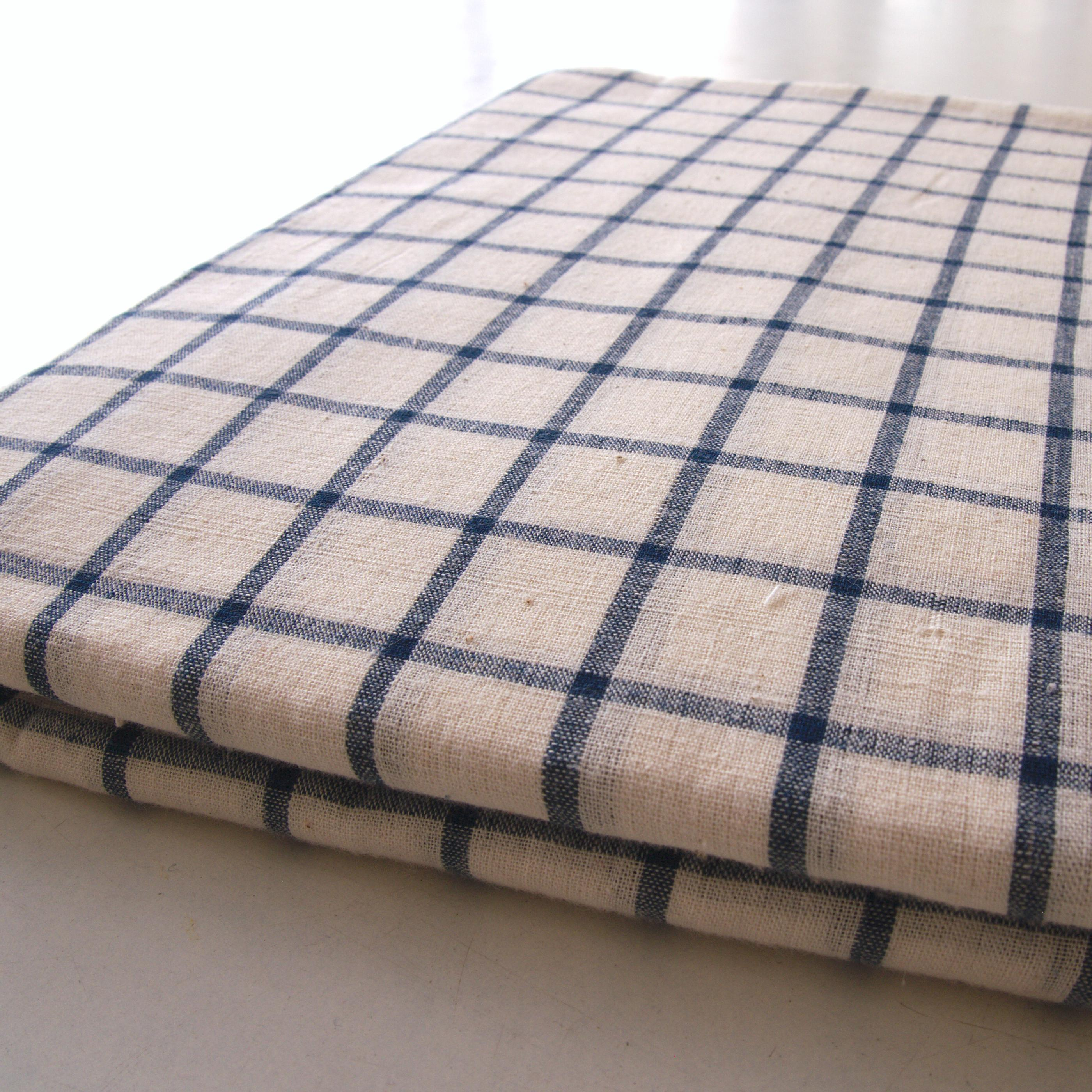 100% Handloom Woven Cotton - White Warp & Weft, White and Indigo Warp & Weft - Chequers - Bolt