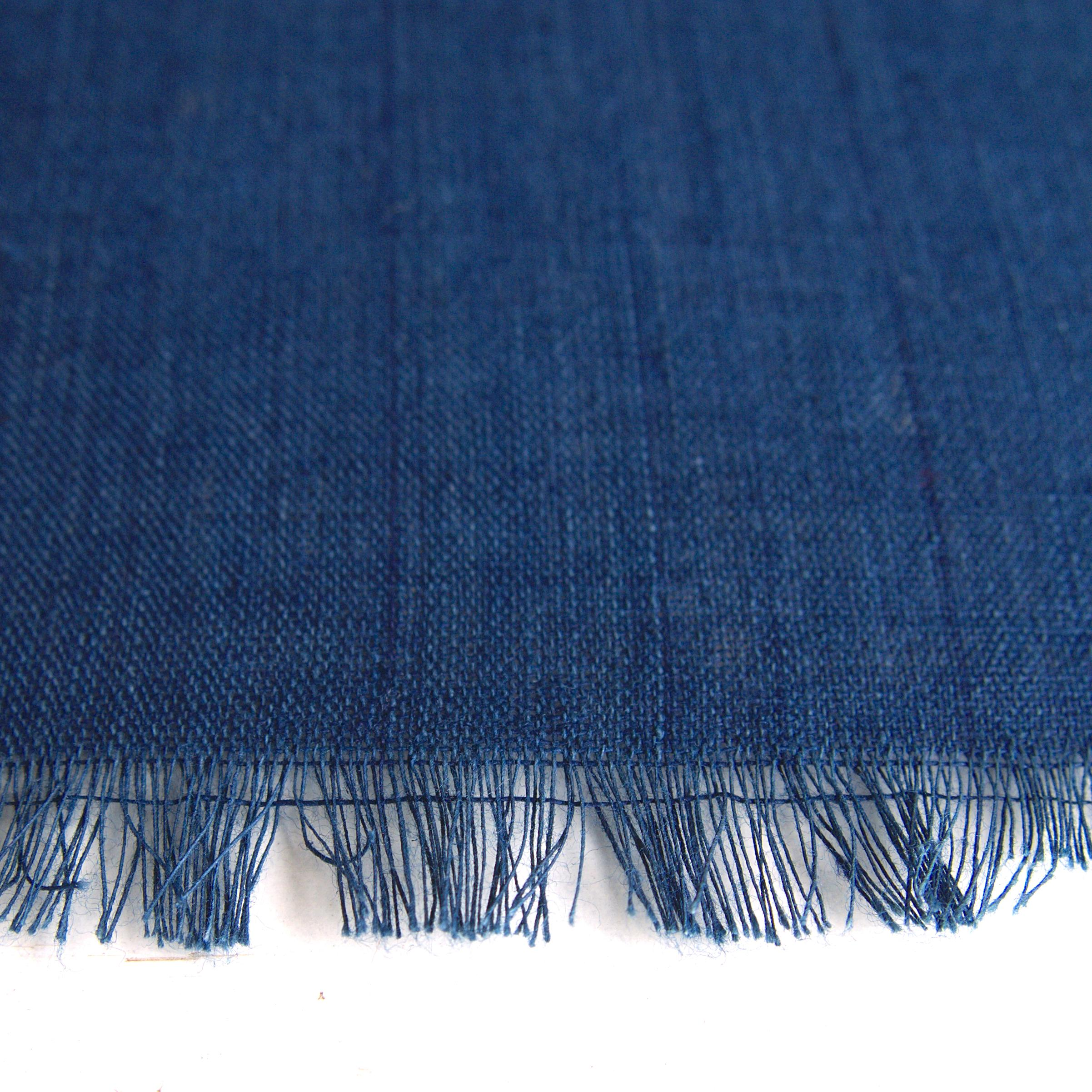 100% Handloom Woven Cotton - Natural Dark Indigo Warp & Warp - Close Up