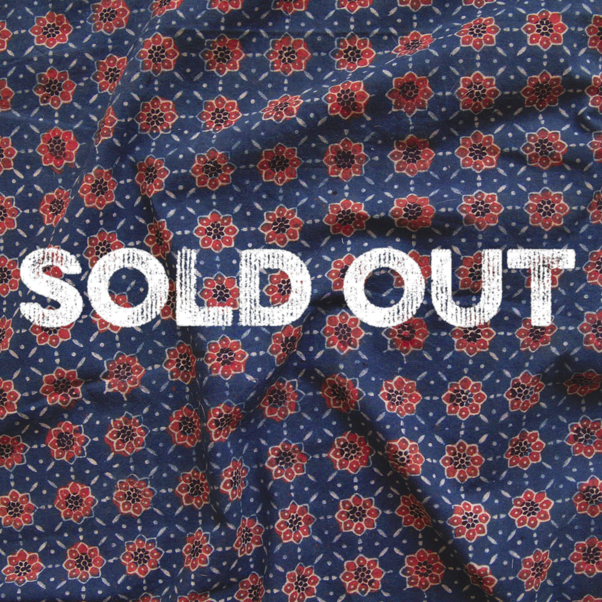 Block Printed Fabric, Cotton, Ajrak Design: Indigo Blue Base, Madder Red Flower. Contrast