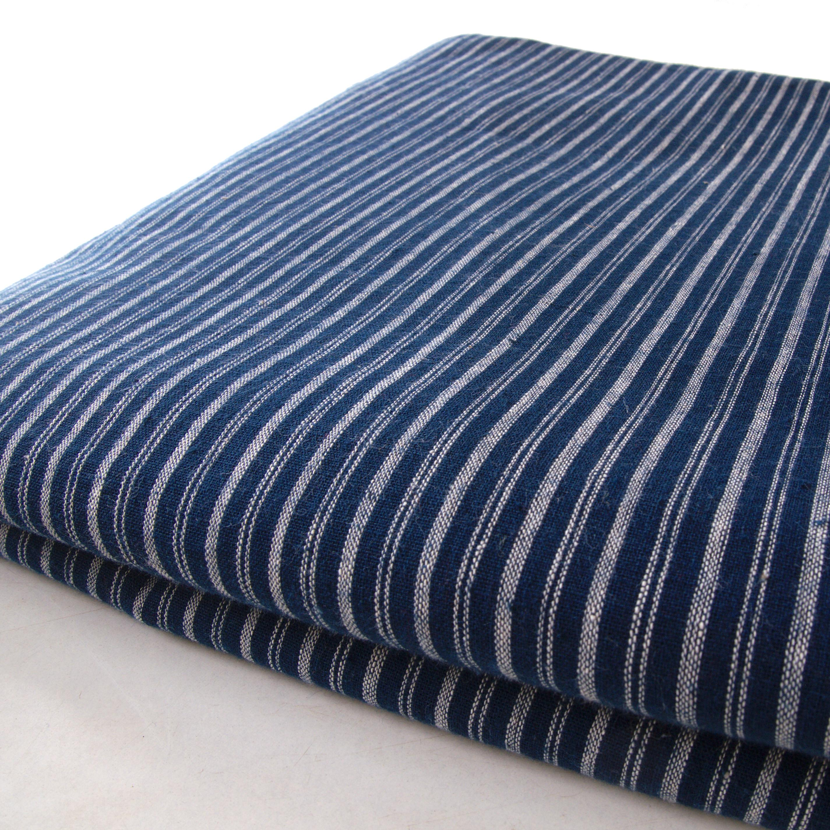 100% Handloom Woven Cotton - Double Stripes - Natural Indigo Warp & Weft, White Warp - Bolt
