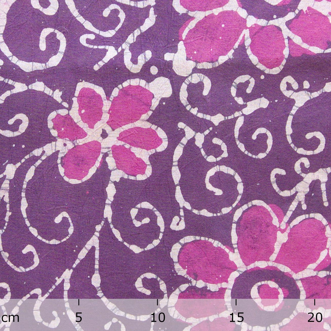 4 - SHA21 - 100% Block-Printed Batik Cotton Fabric From India - Flower Power Motif - Ruler - Live