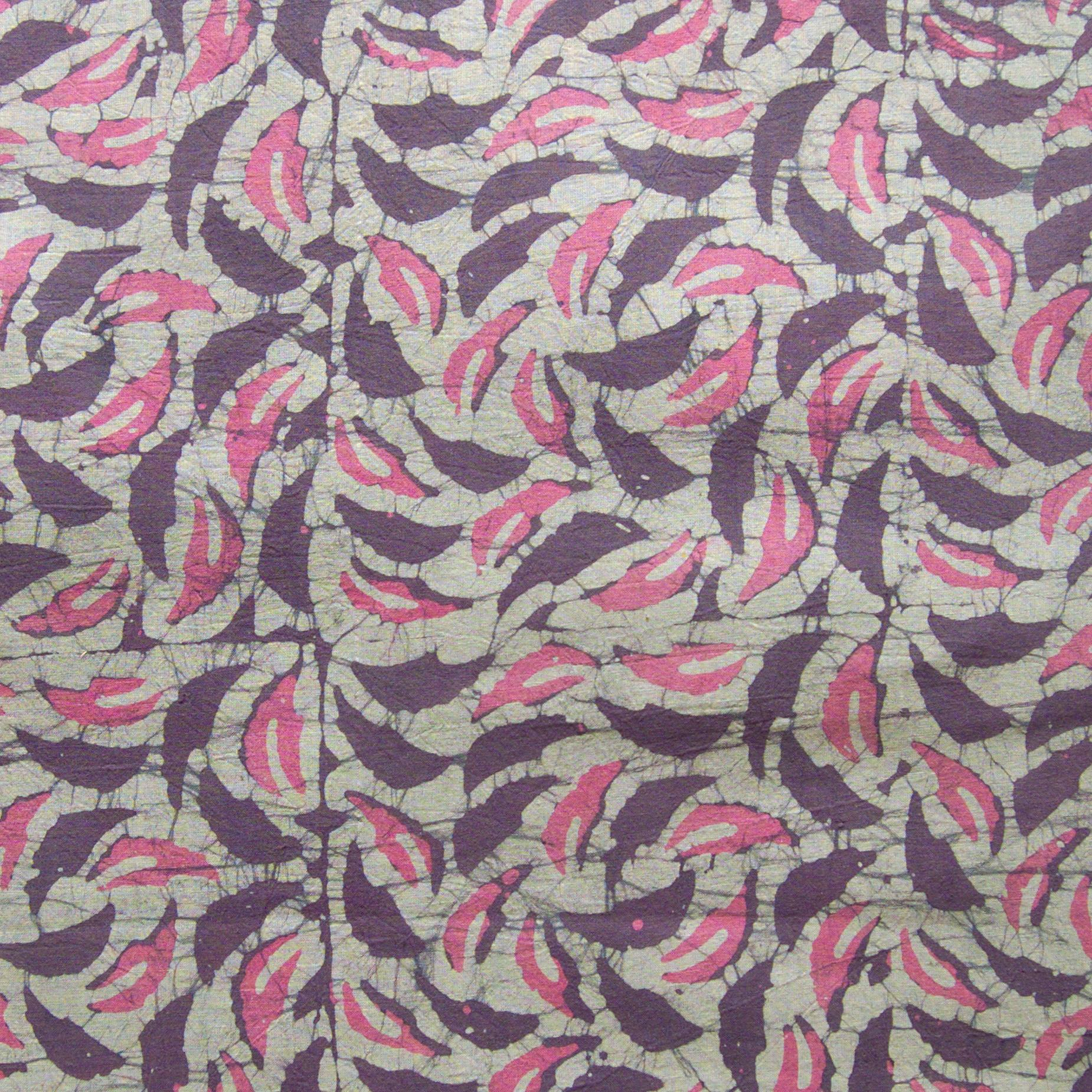 SHA30 - Block-Printed Batik Cotton Fabric From India - Autumnal Rustle Design - Flat