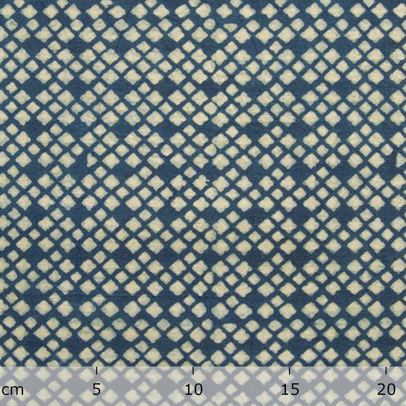 SIK28 - Indian Woodblock-Printed Cotton Fabric - Mosaic Design - Indigo Dye - Ruler