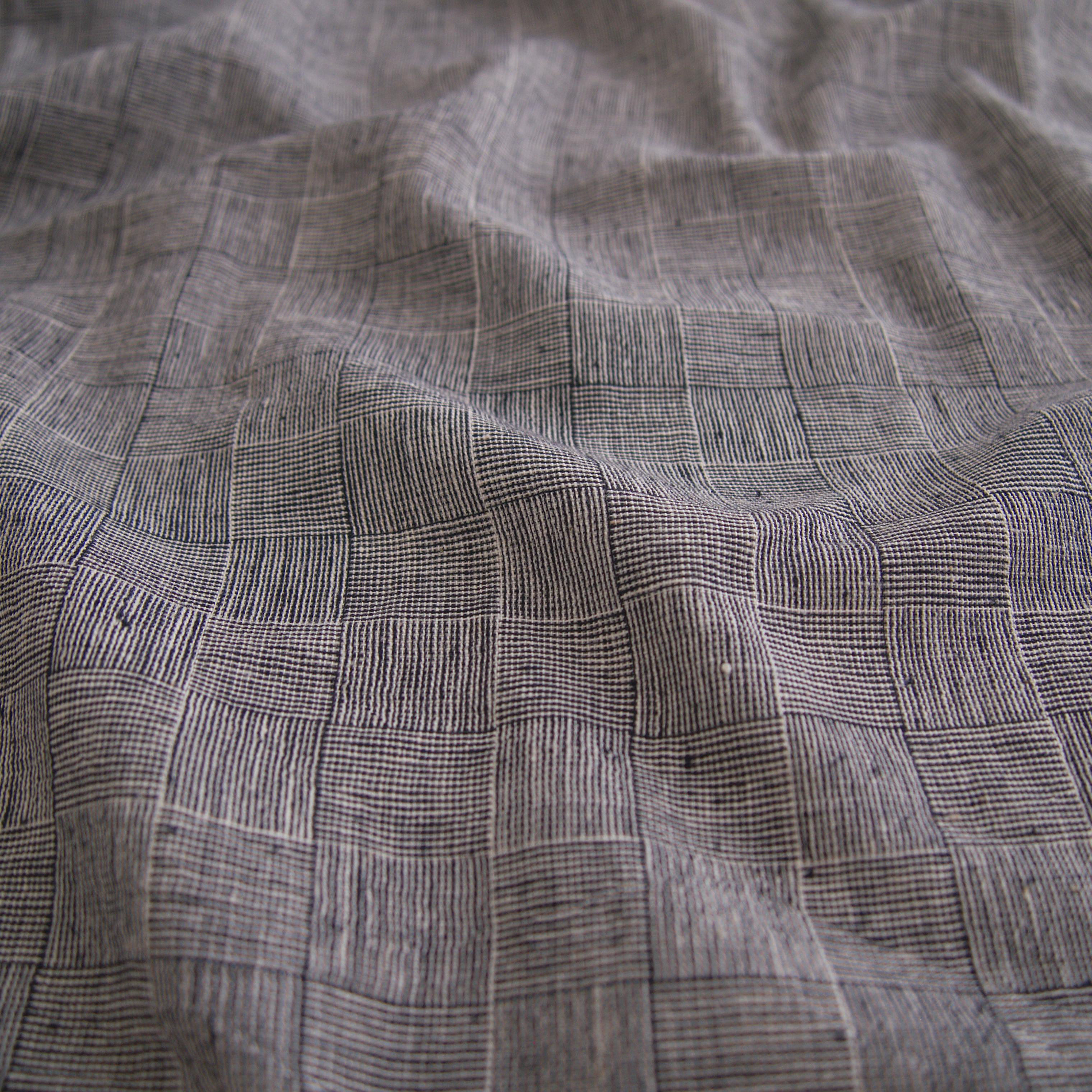 Indian Handloom-Woven Organic Kala Cotton Fabric - Plain 1 by 1 Weave - Checkers Design - Black Reactive Thread Dye - Contrast