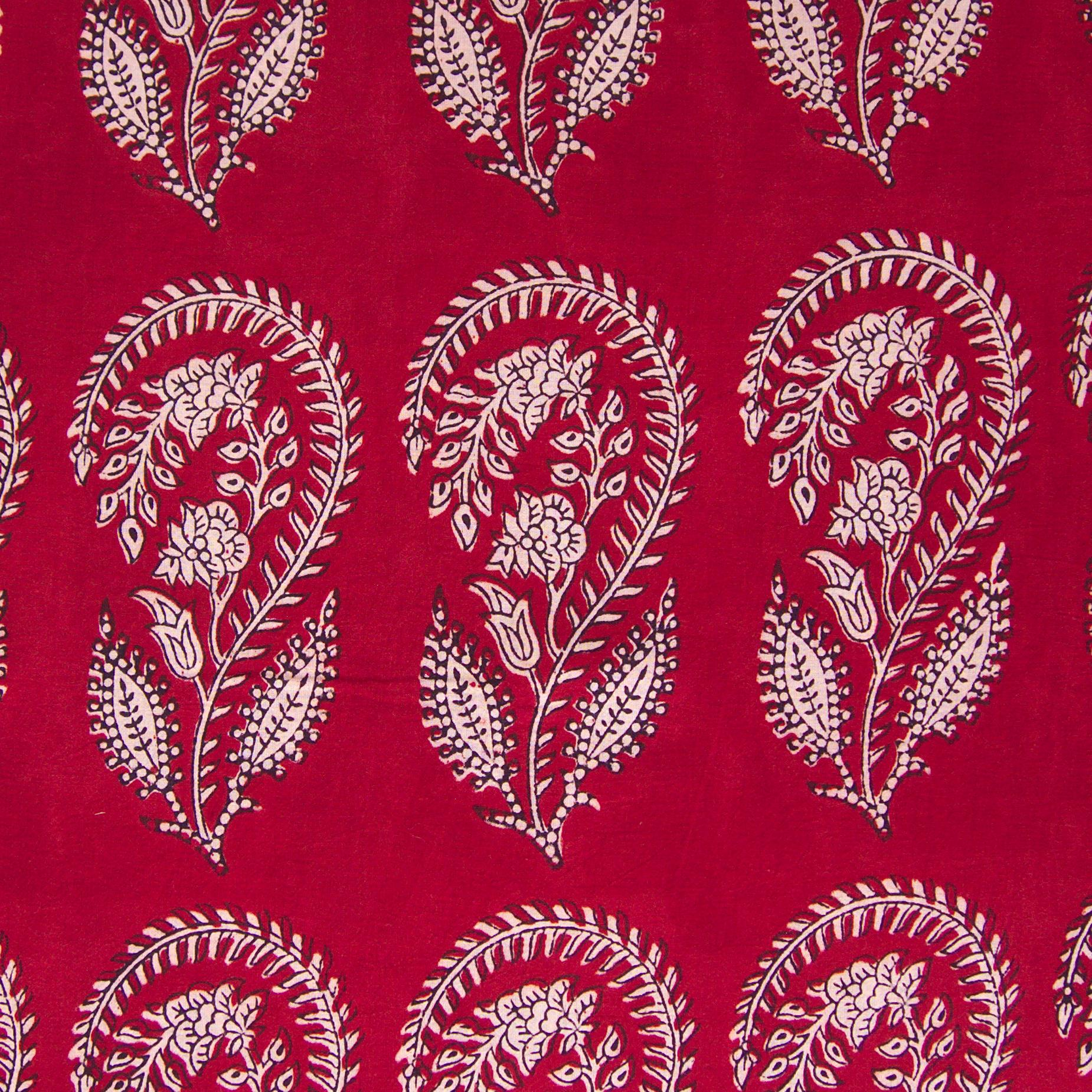 100% Block - Printed Cotton Fabric From India - Scorpion Design - Iron Rust Black & Alizarin Red Dyes - Flat - Live
