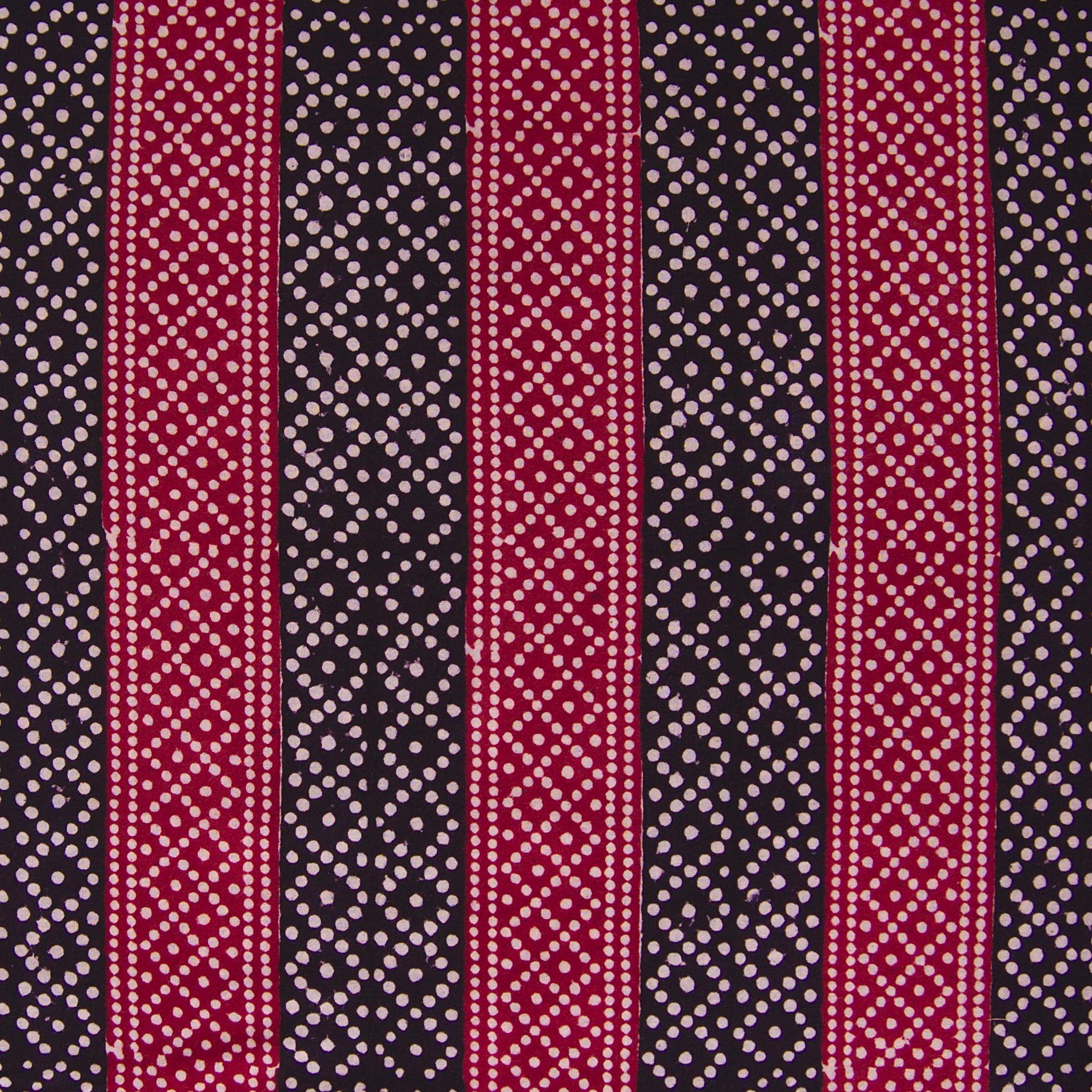 100% Block-Printed Cotton Fabric From India - Pixels Design - Iron Rust Black & Alizarin Red Dyes - Flat - Live