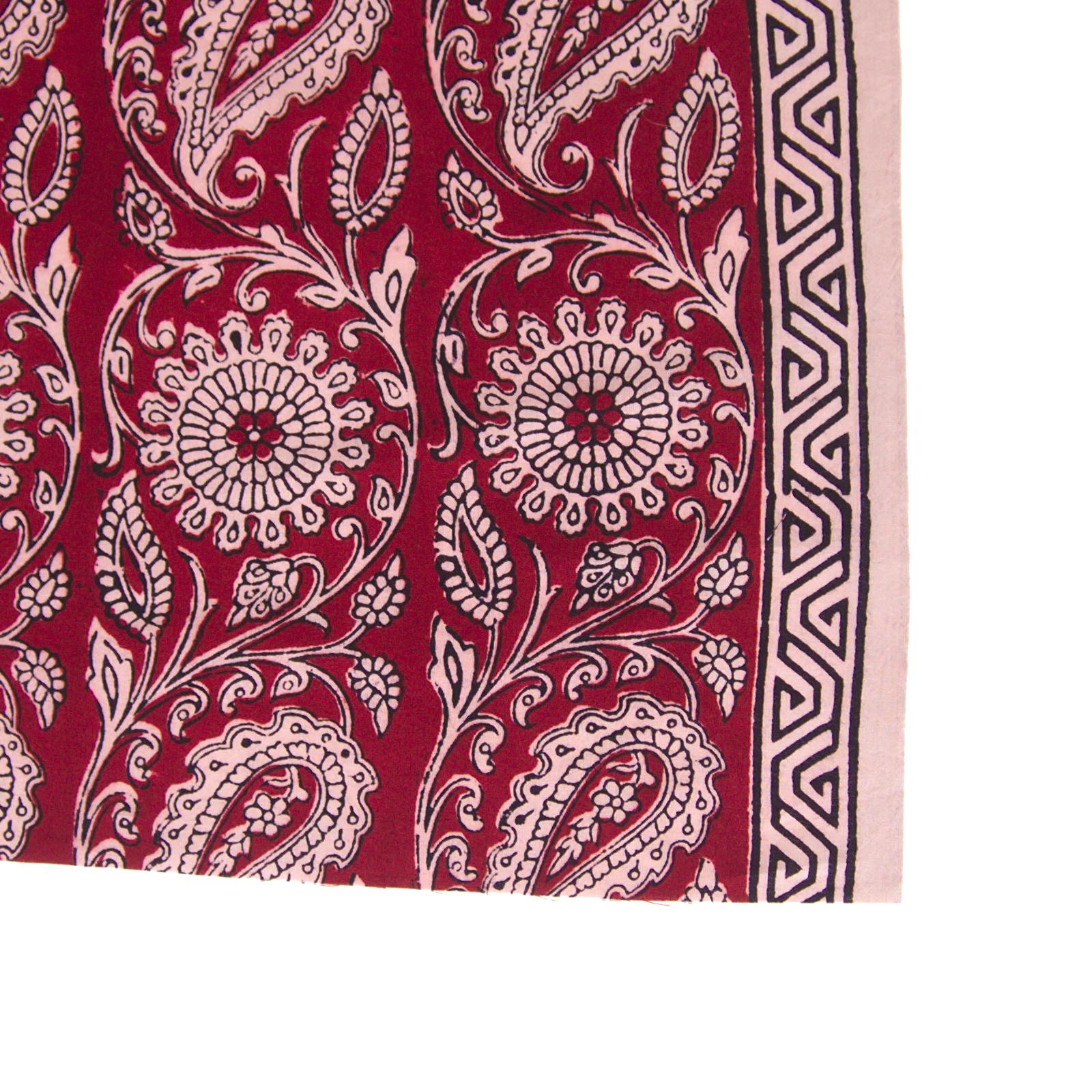 100% Block-Printed Cotton Fabric From India - Sichuan Pepper Design - Iron Rust Black & Alizarin Red Dyes - Border - Live