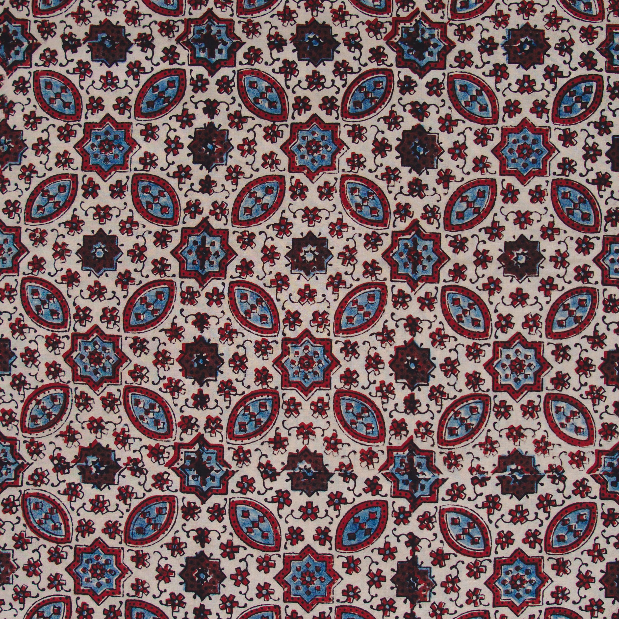 SIK33 - Indian Block-Printed Cotton - Murmurations Design - Indigo, Red & Black Dye - Flat