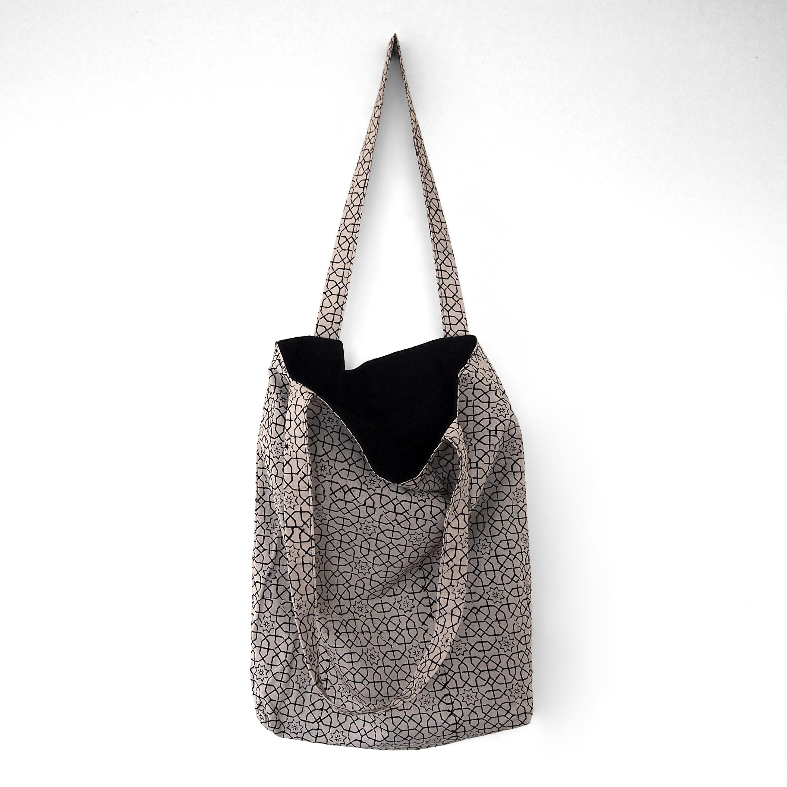 block printed cotton tote bag, natural dye, beige, black octagon design, lined with black cotton, closed