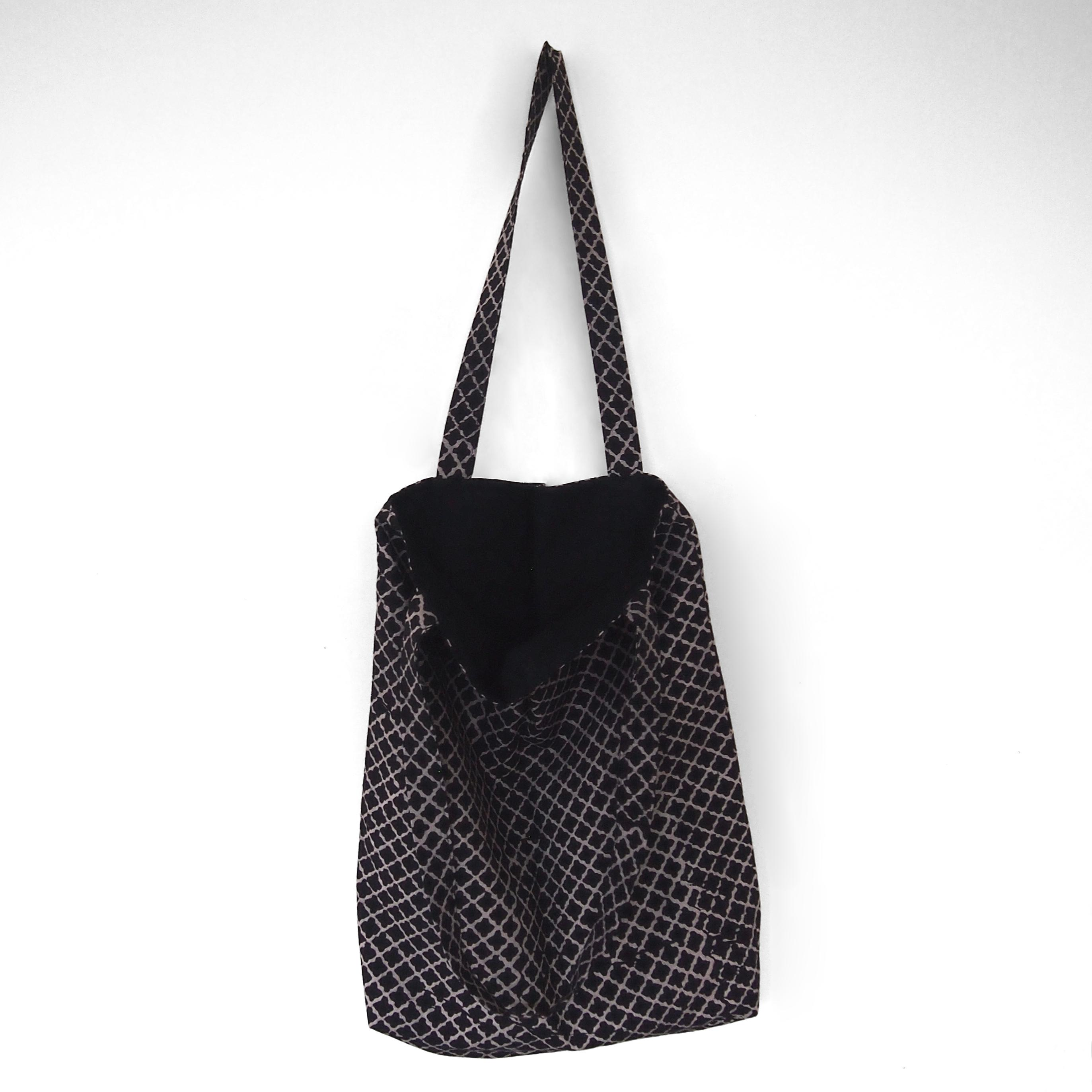 block printed cotton tote bag, natural dye, black, beige clover, lined with black cotton, open