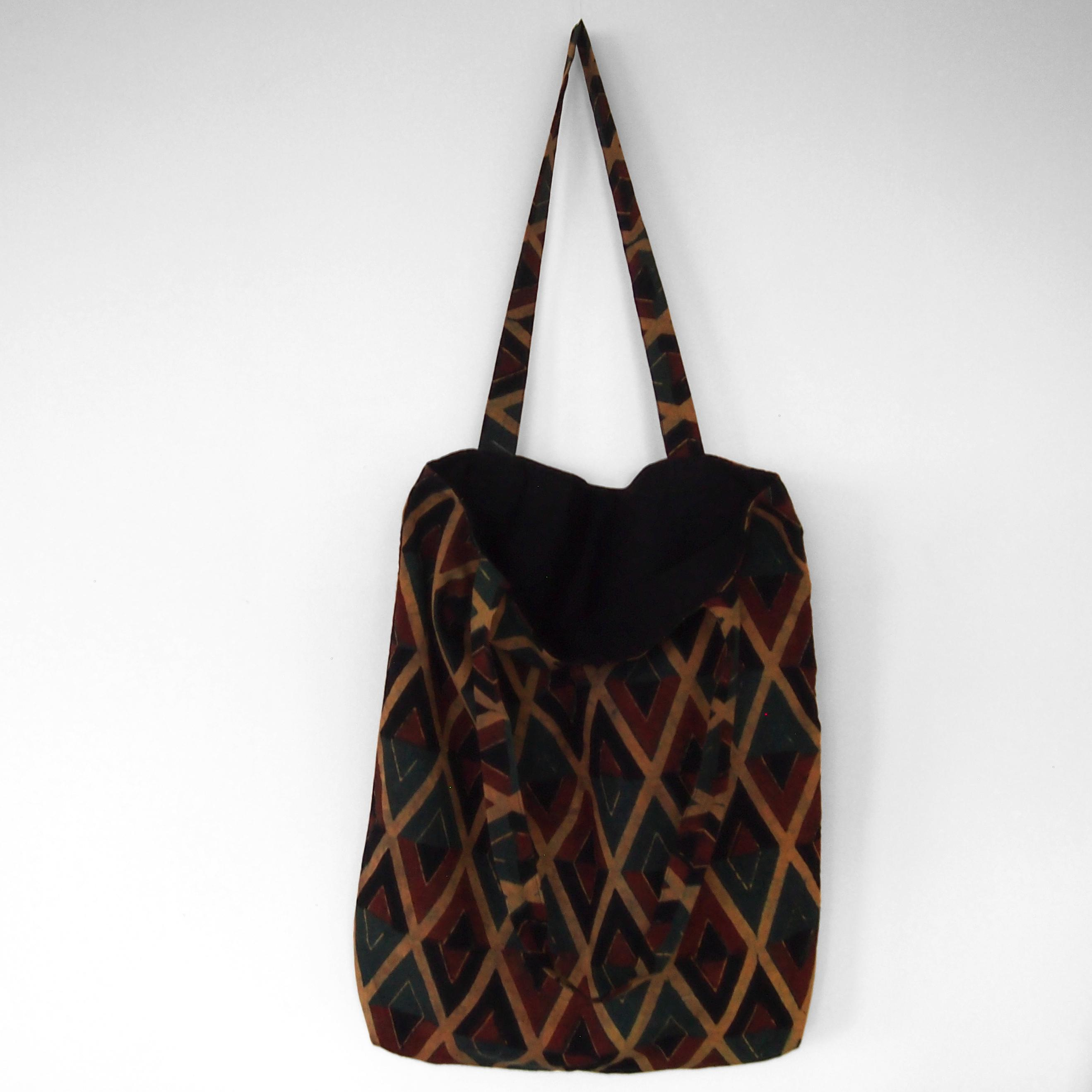 block printed cotton tote bag, natural dye, yellow, red green black diamond design, lined with black cotton, open