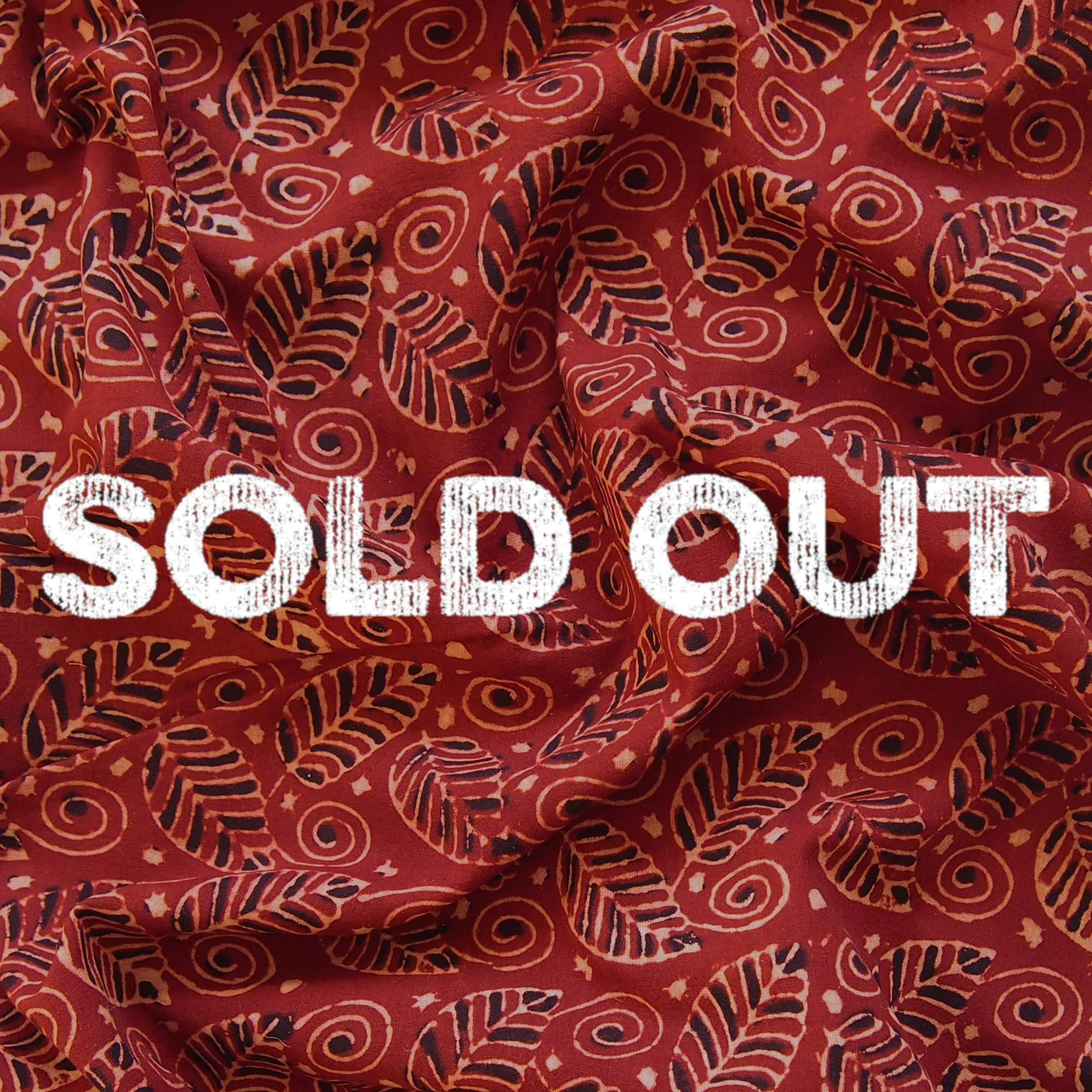 Block Printed Fabric, 100% Cotton, Ajrak Design: Red Madder Root Base, Black, Beige Foliage. Contrast, Sold Out