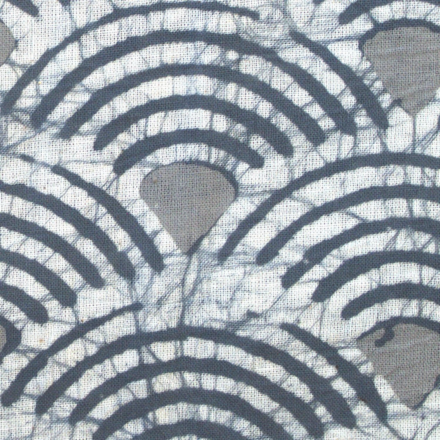 4 - SHA03 - 100% Block-Printed Batik Cotton Fabric From India - Batik - Grey Scales - Close Up