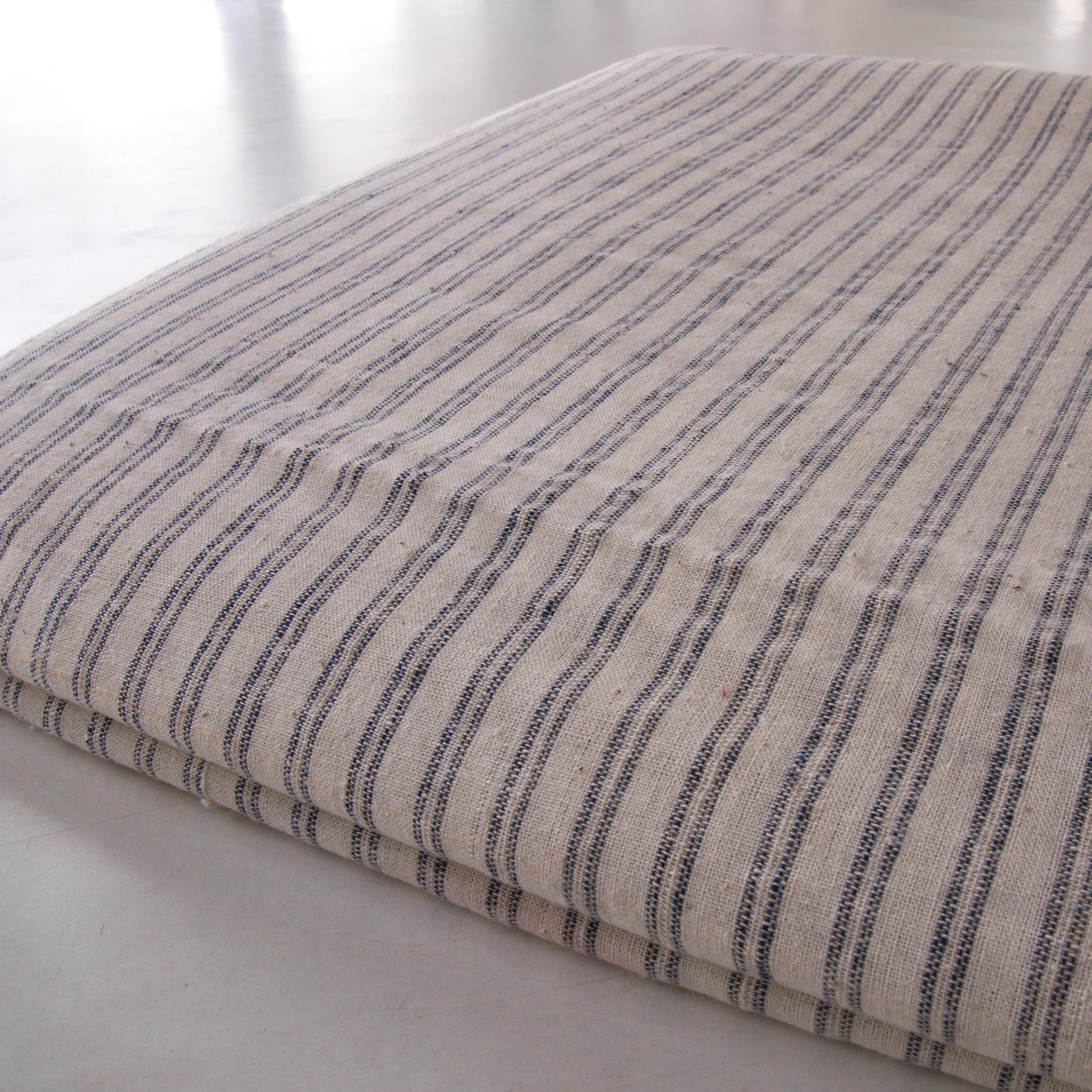 100% Handloom Woven Cotton - Pinstripes - White Warp & Weft, White and Natural Indigo Warp - Bolt