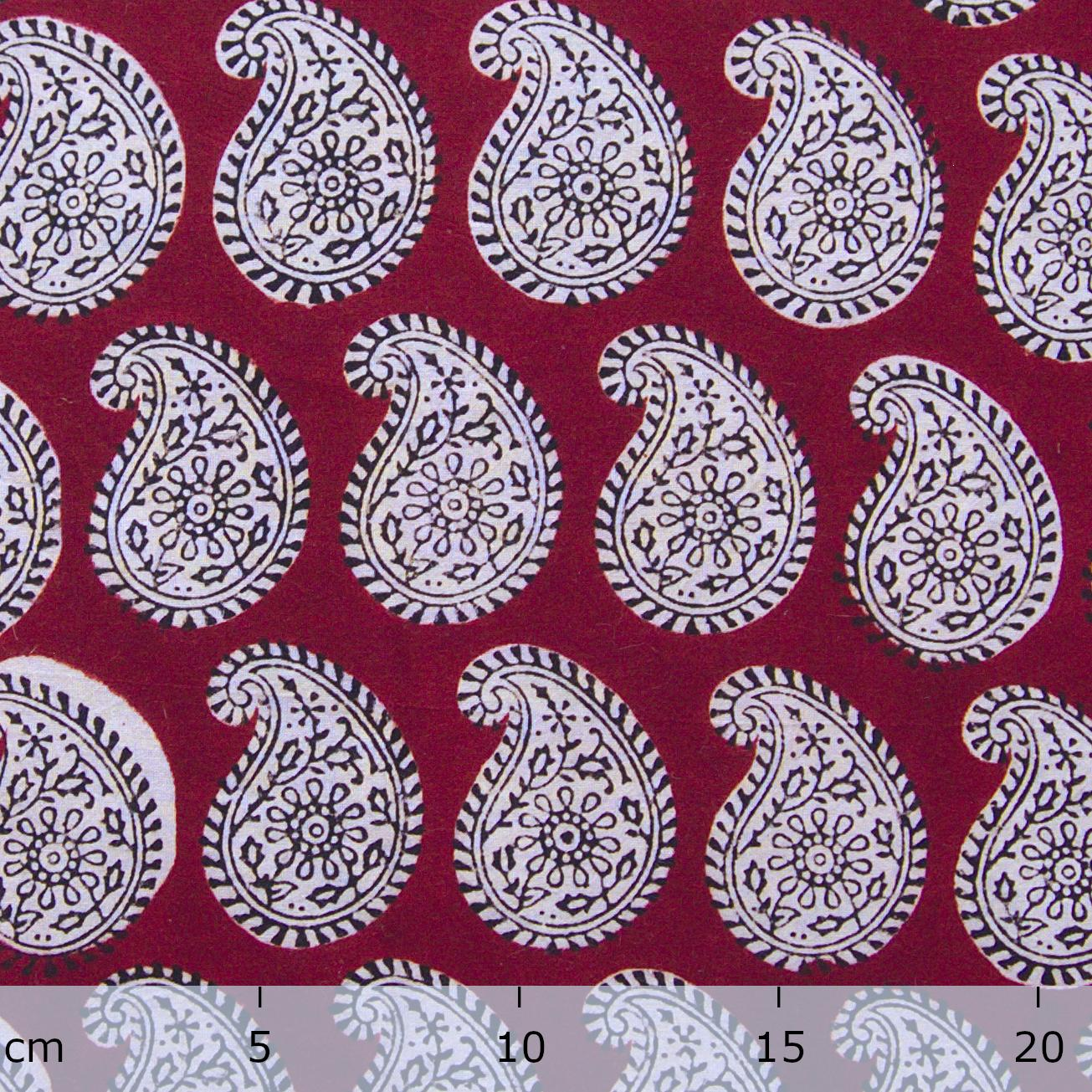 100% Block-Printed Cotton Fabric From India- Bagh - Alizarin Red Paisley Print - Ruler