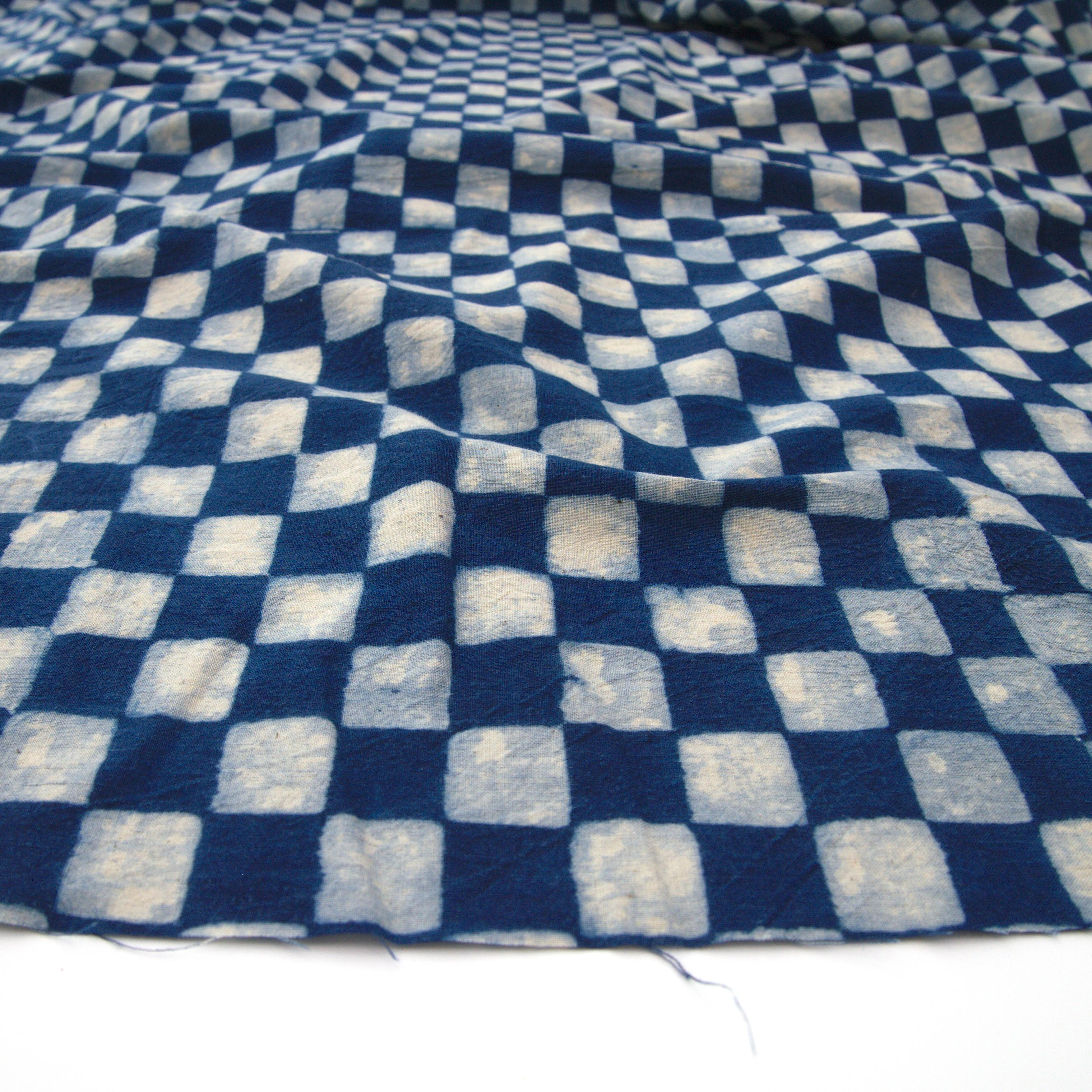 1a - IBR10 - 100% Block-Printed Cotton Fabric From India- Ajrak - Indigo White Resist Chequers Print - Angle