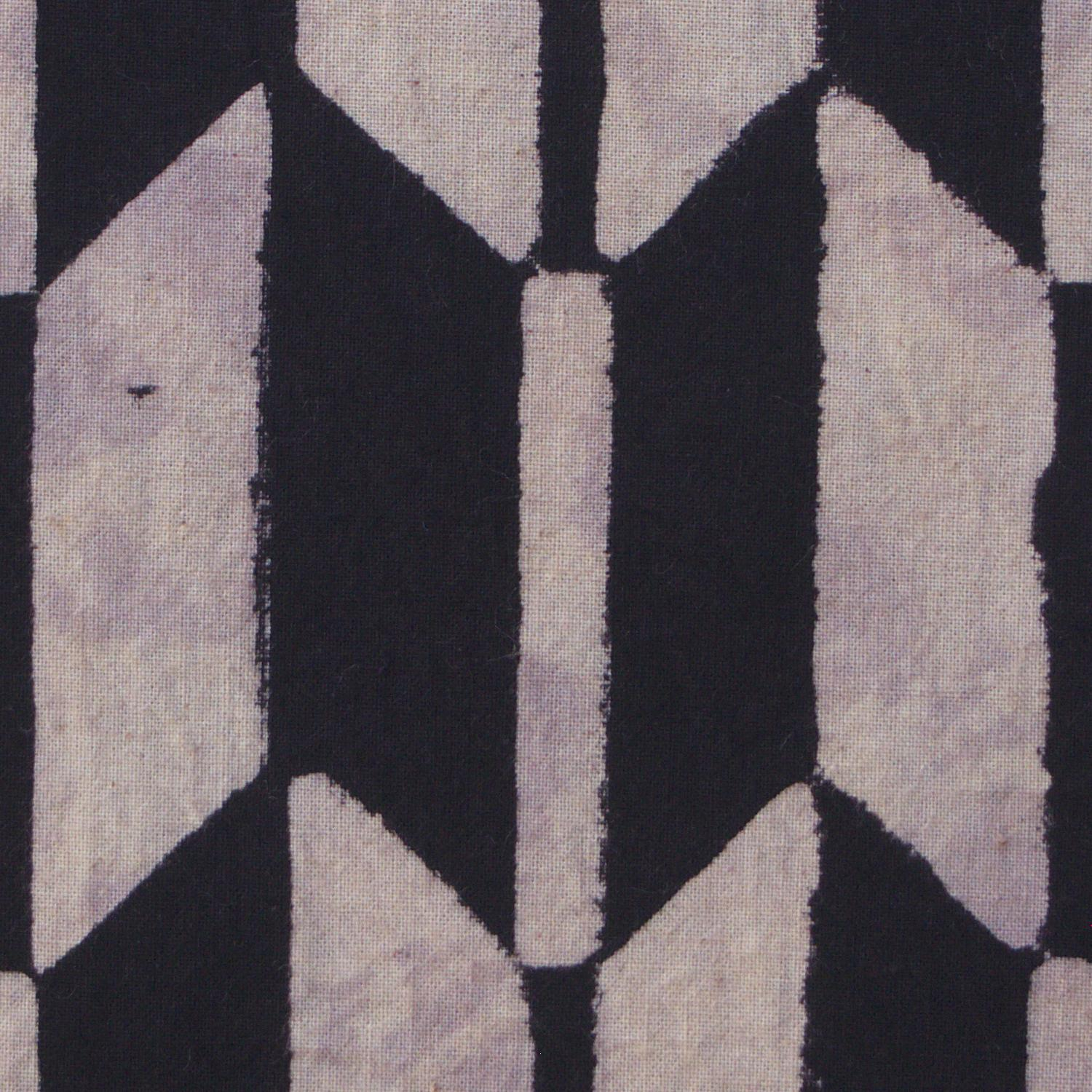 100% Block-Printed Cotton Fabric From India- Ajrak - Black White Resist Fletching Print - Close Up