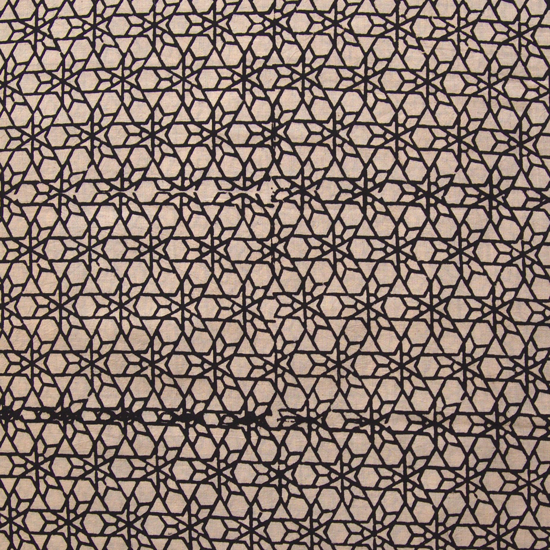 Block Printed Fabric, 100% Cotton, Ajrak Design: Beige Base, Black Shooting Star. Close Up