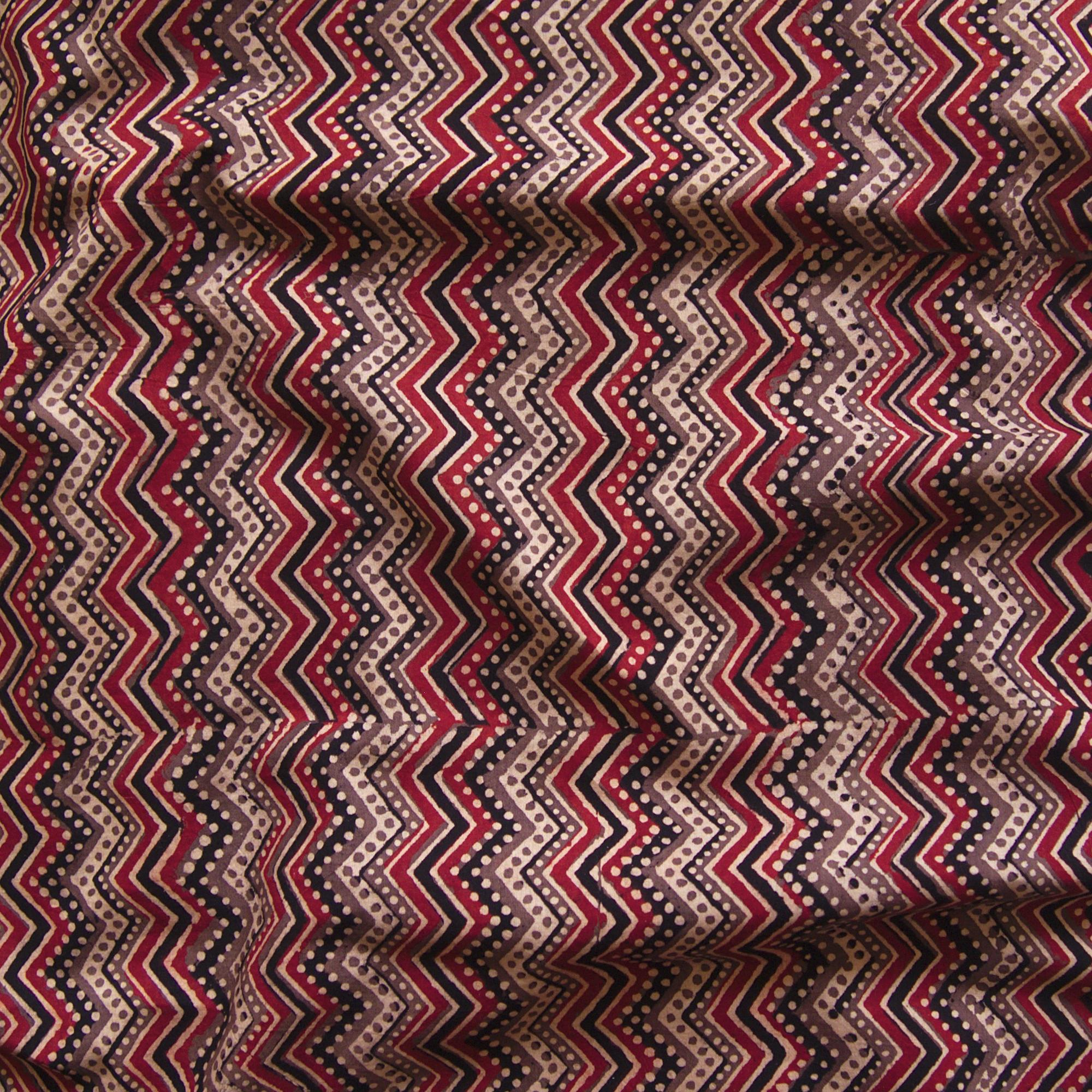 Block Printed Fabric, 100% Cotton, Ajrak Design: Beige Base, Coffee Brown, Iron Black, Madder Red ZigZag. Contrast