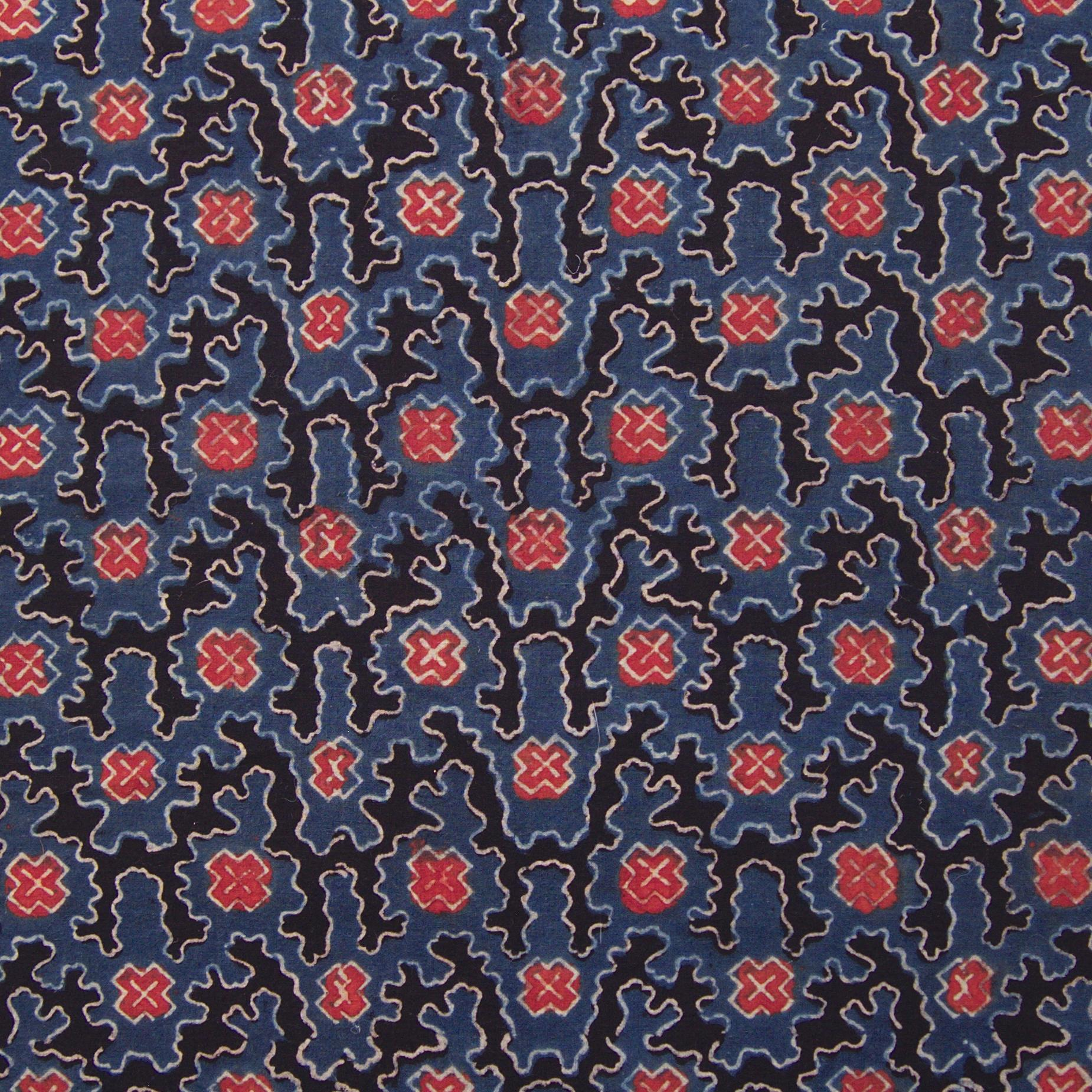 Block Printed Fabric, 100% Cotton, Ajrak Design: Indigo Blue Base, Black, Madder Red, White Cloud. Close Up