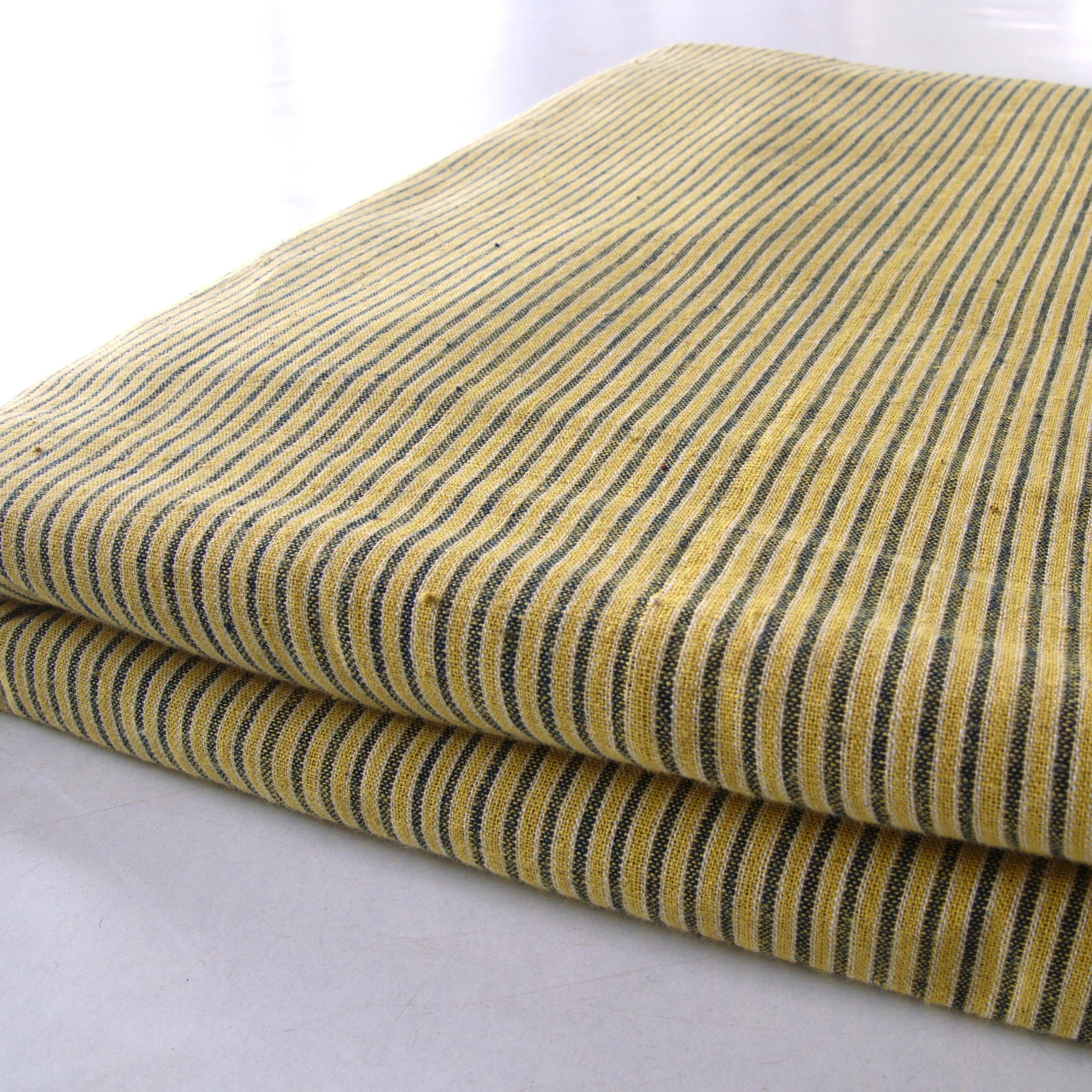 100% Handloom Cotton - Stripes - Pomegranate Yellow Warp & Weft, White and Indigo Warp - Bolt