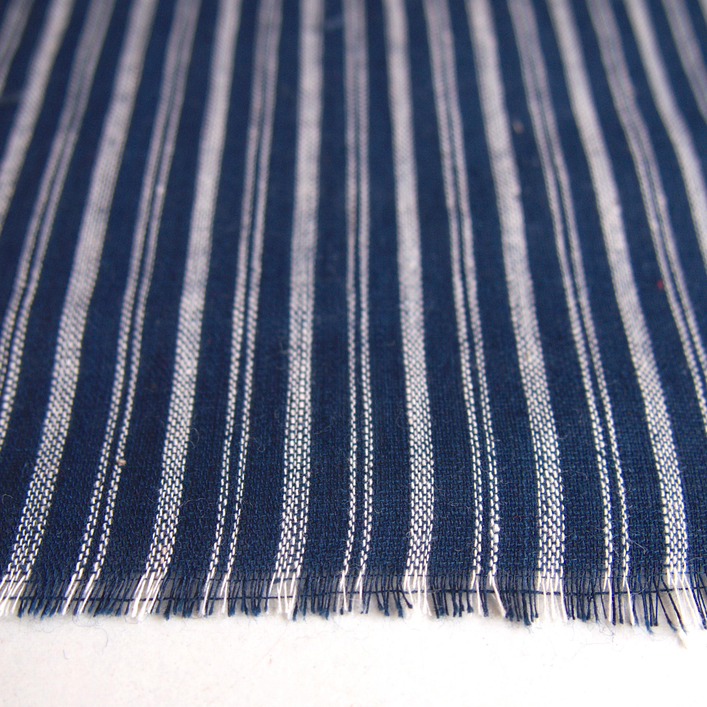 100% Handloom Woven Cotton - Double Stripes - Natural Indigo Warp & Weft, White Warp - Close Up