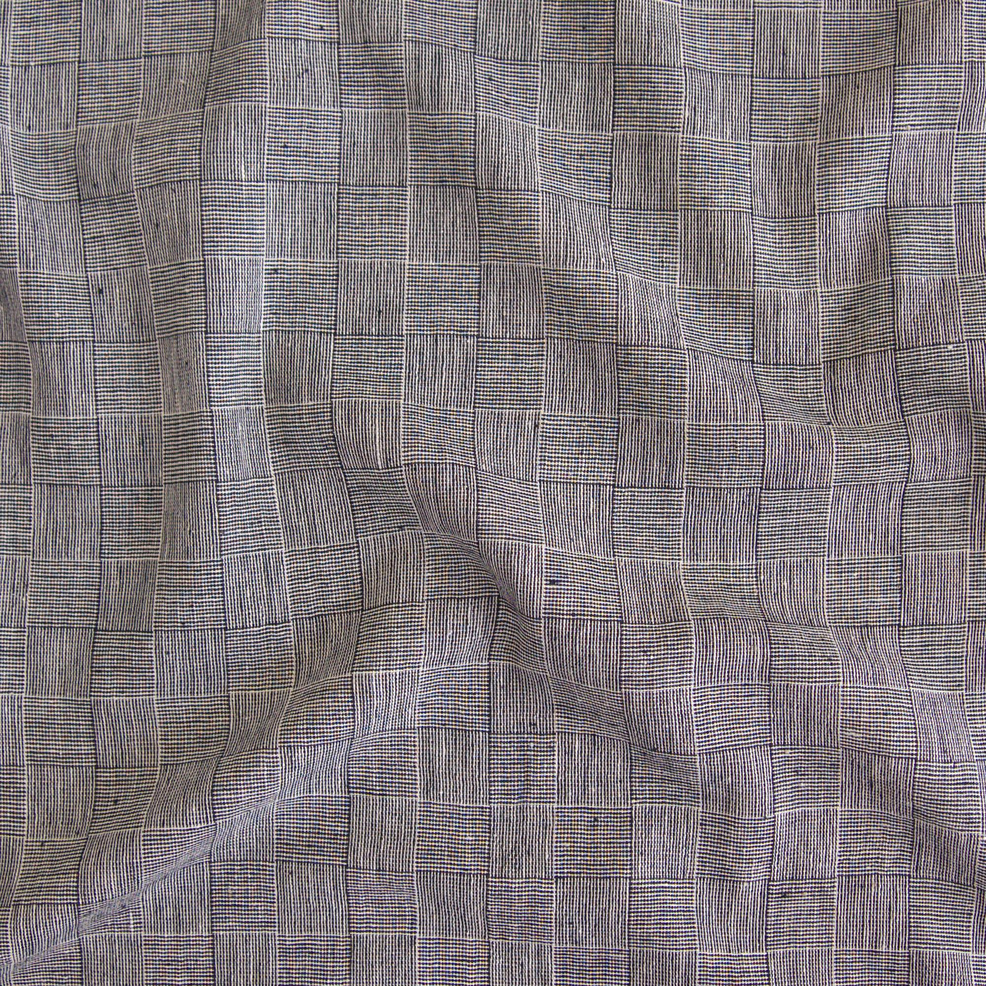Indian Handloom-Woven Organic Kala Cotton Fabric - Plain 1 by 1 Weave - Checkers Design - Black Reactive Thread Dye - Contrast 2