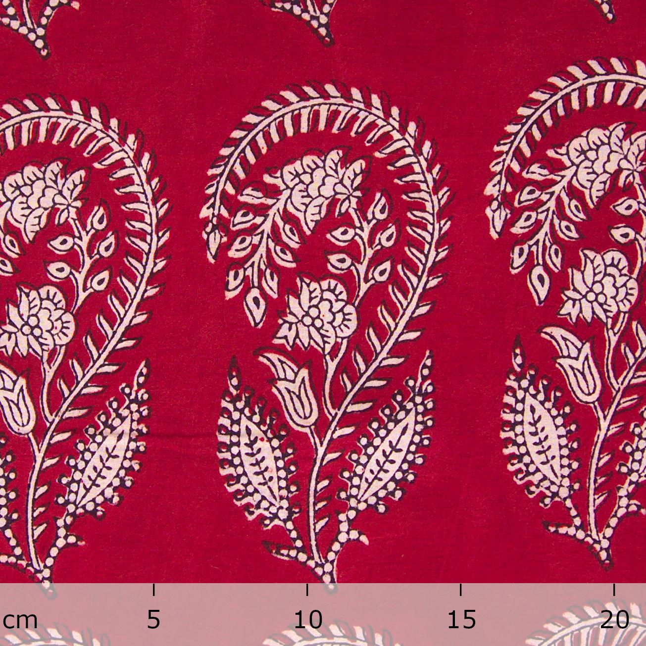 100% Block - Printed Cotton Fabric From India - Scorpion Design - Iron Rust Black & Alizarin Red Dyes - Ruler - Live