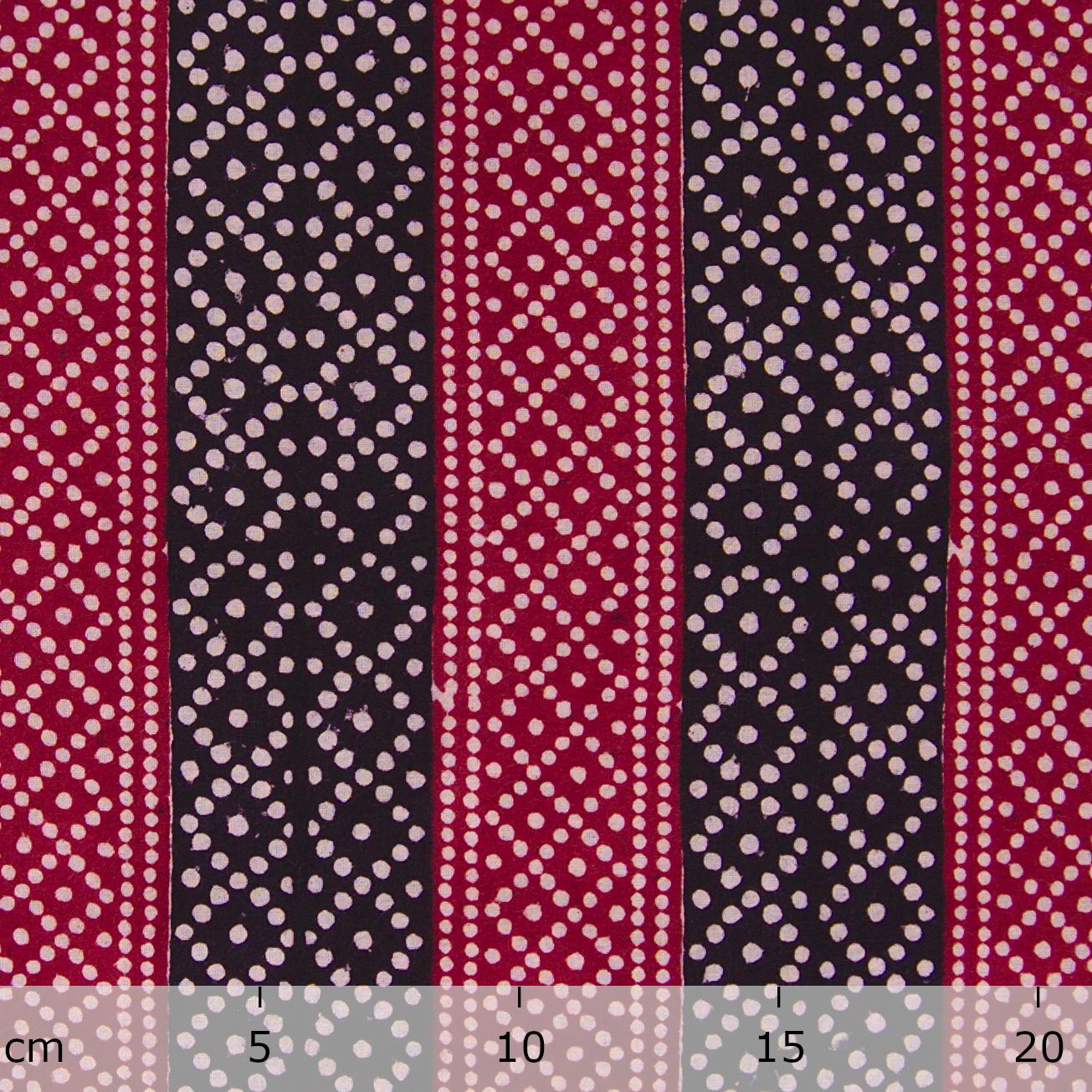 100% Block-Printed Cotton Fabric From India - Pixels Design - Iron Rust Black & Alizarin Red Dyes - Ruler - Live