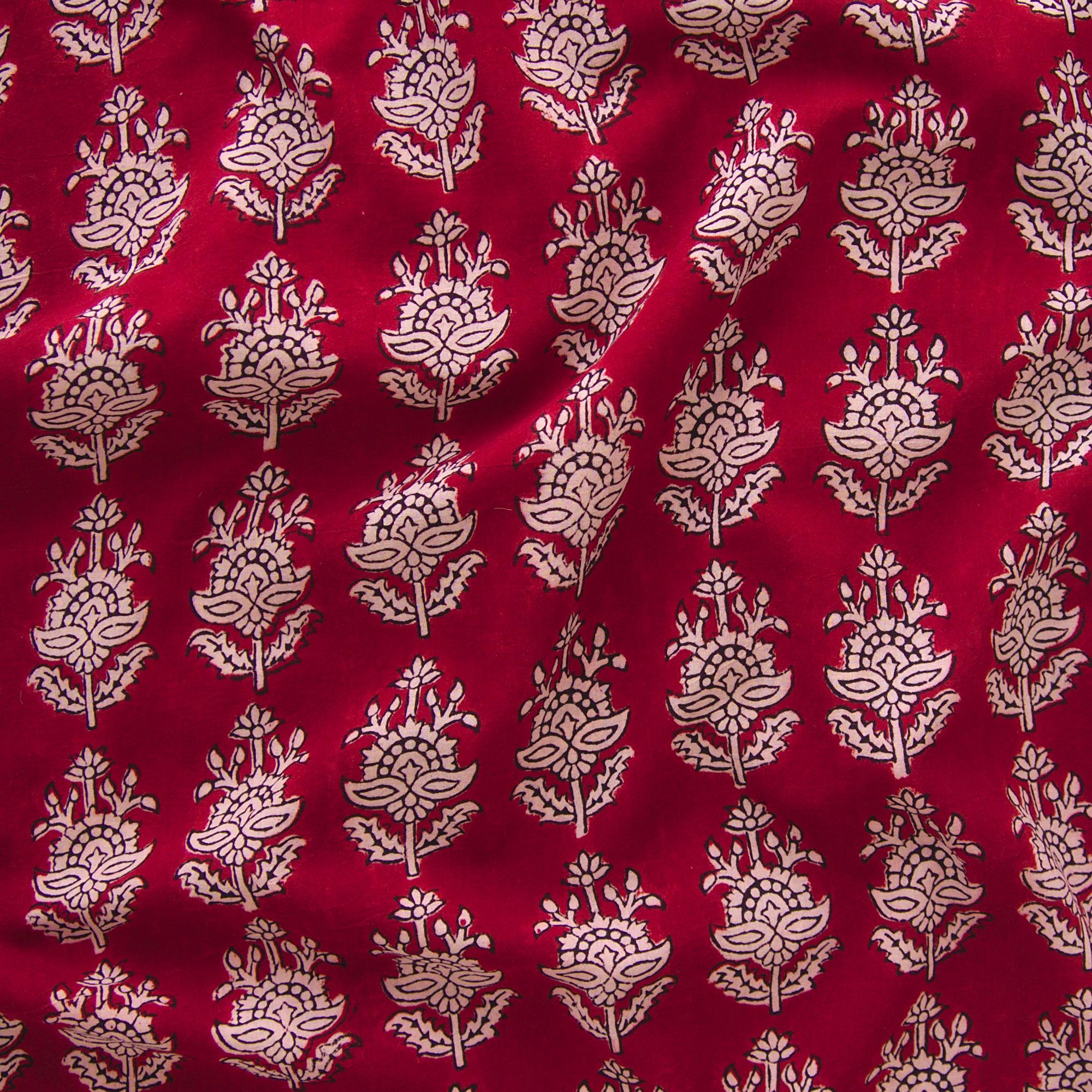 100% Block-Printed Cotton Fabric From India - Talkin' About Design - Iron Rust Black & Alizarin Red Dyes - Contrast - Live