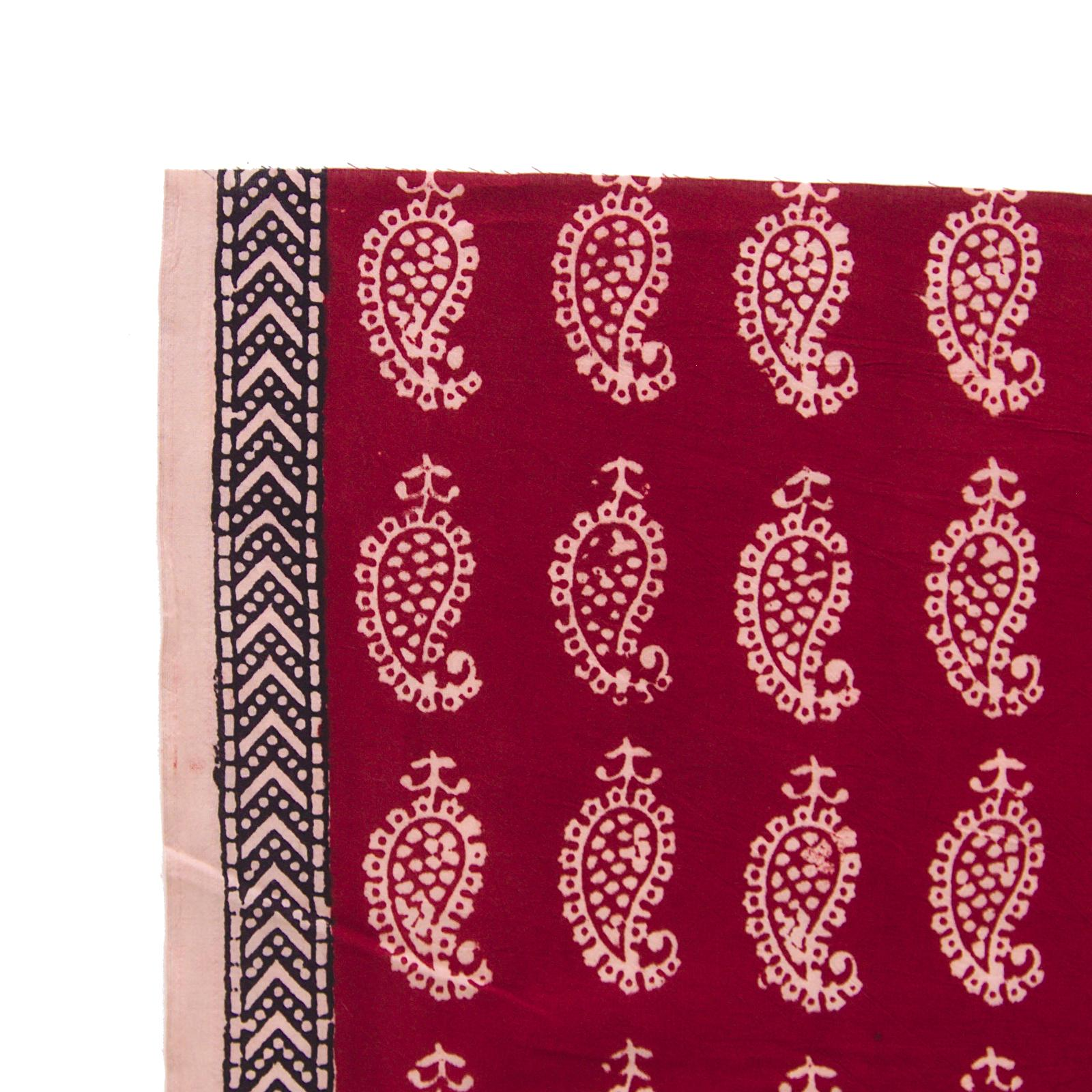 100% Block-Printed Cotton Fabric From India - Raindrops Design - Iron Rust Black & Alizarin Red Dyes - Border - Live