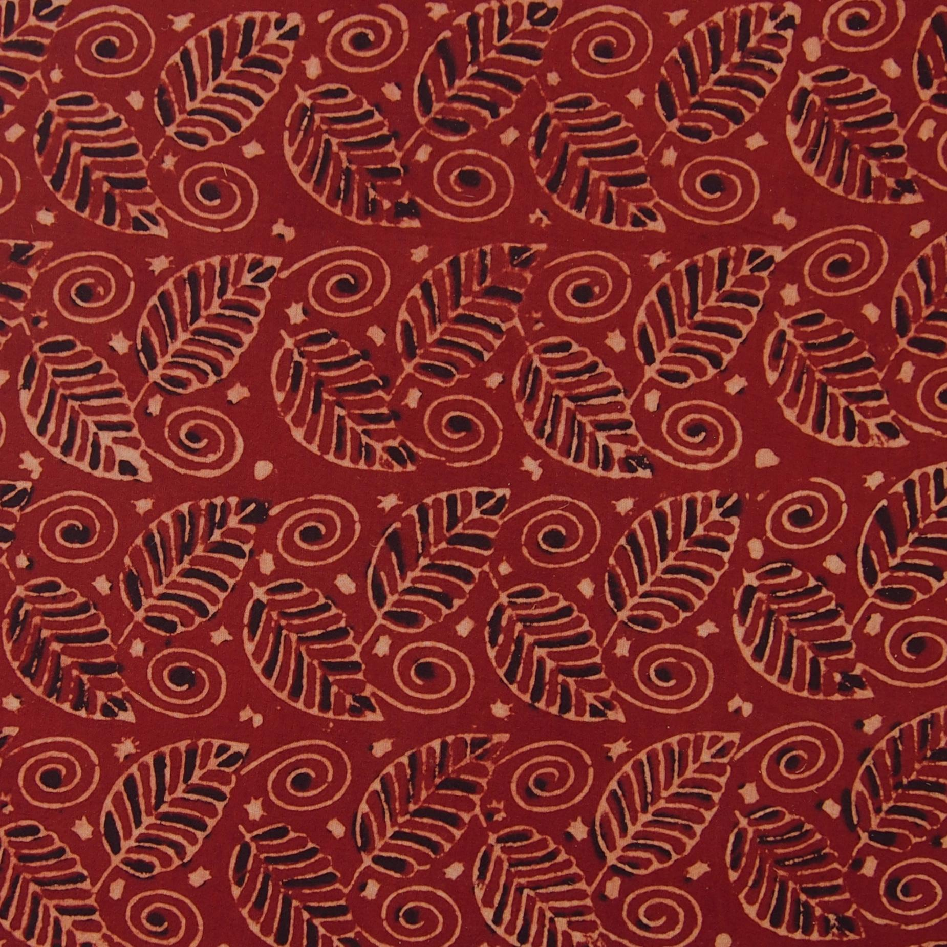 Block Printed Fabric, 100% Cotton, Ajrak Design: Red Madder Root Base, Black, Beige Foliage. Close Up, Sold Out