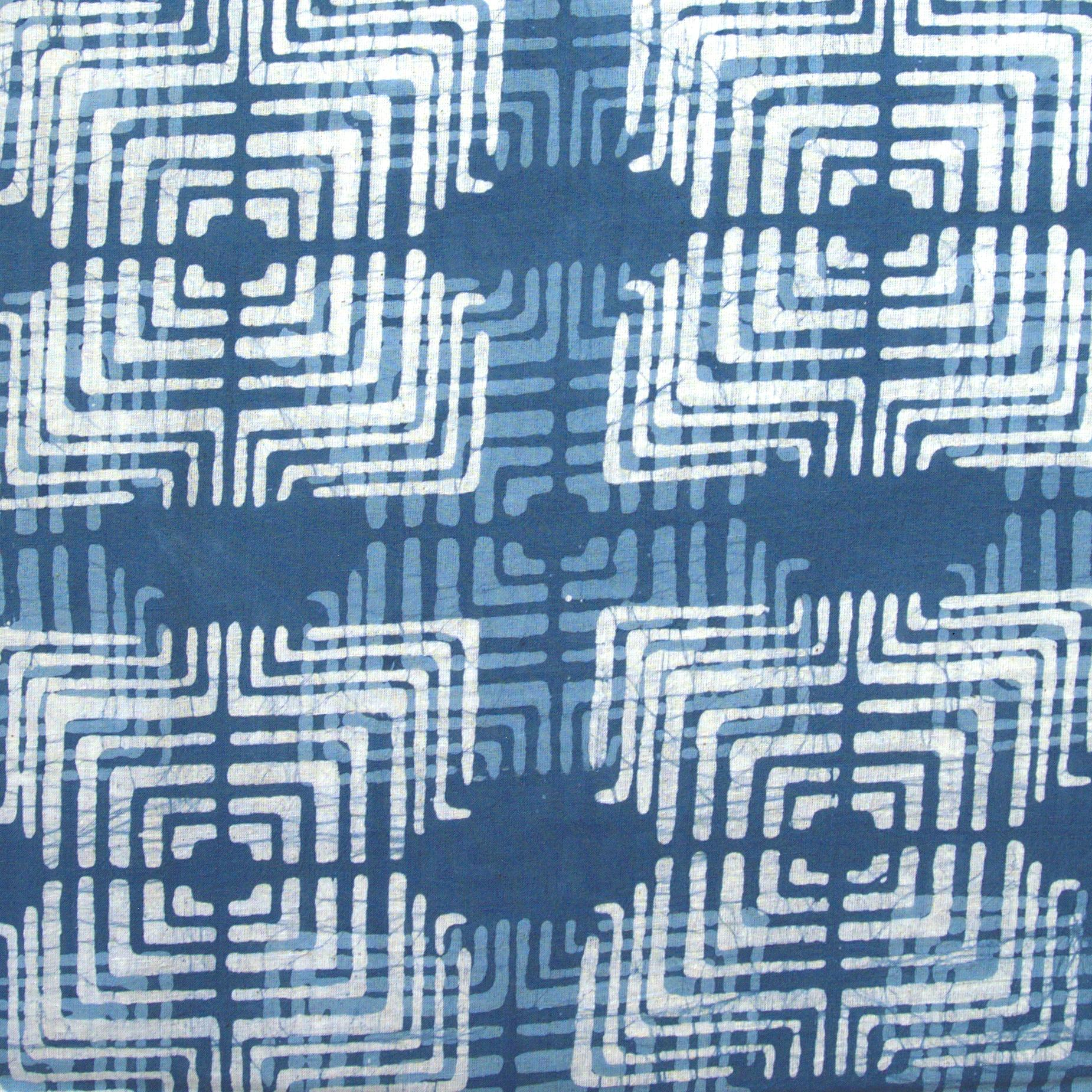 2 - SHA11 - 100% Block-Printed Batik Cotton Fabric From India - Batik - Blue Mirage