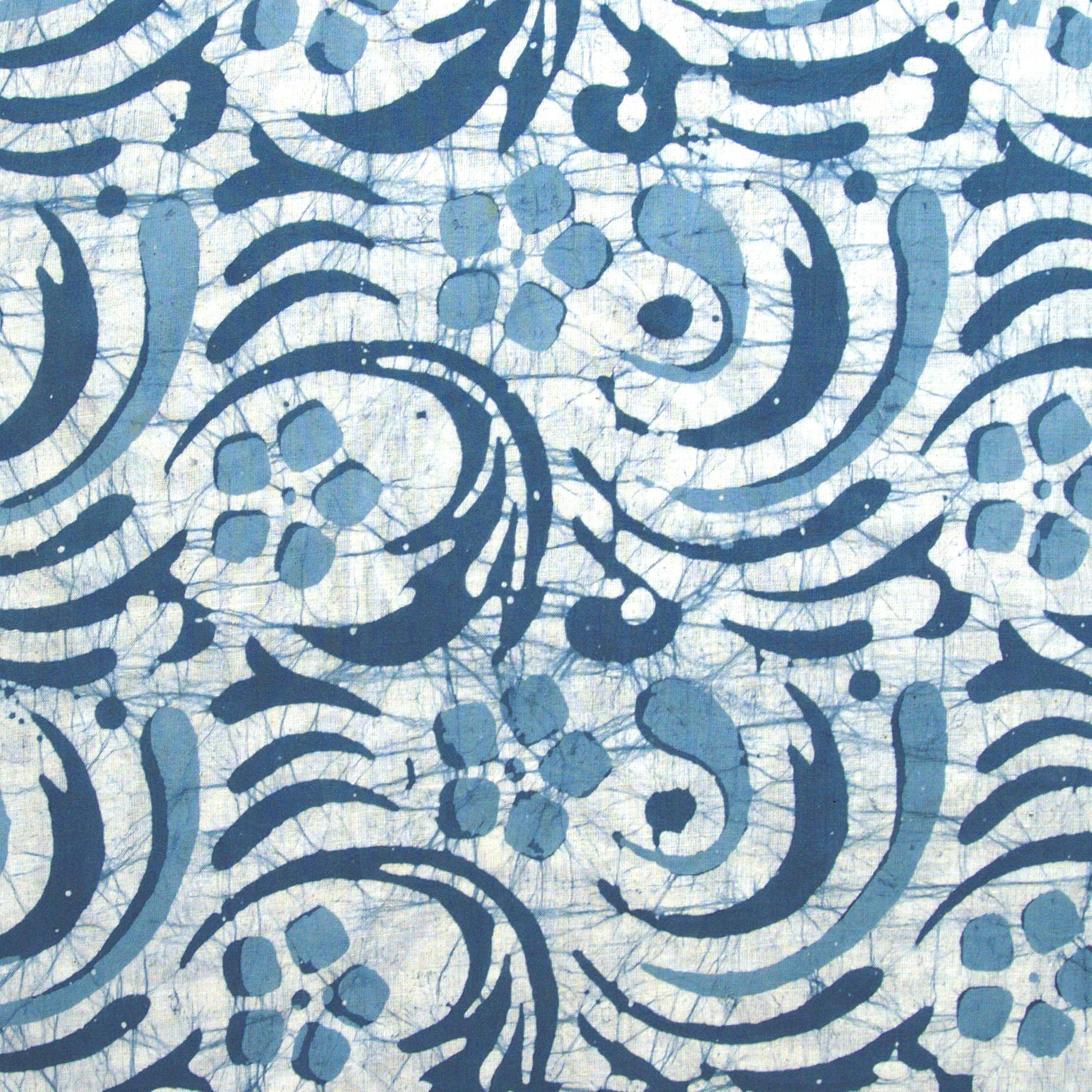 2 - SHA14 - 100% Block-Printed Batik Cotton Fabric From India - Batik - Blue Swirls