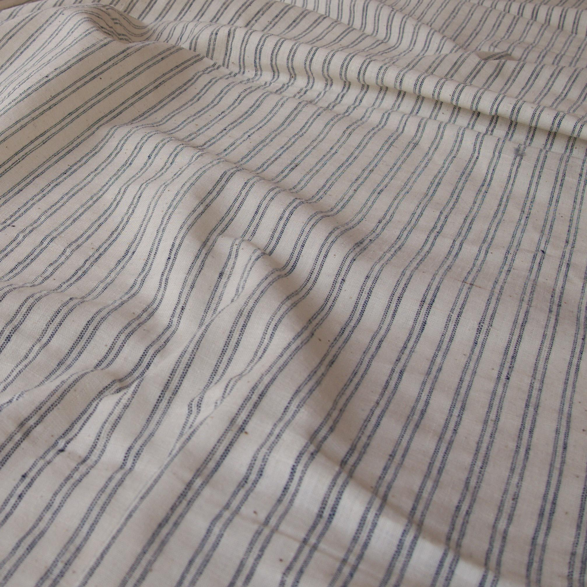 100% Handloom Woven Cotton - Pinstripes - White Warp & Weft, White and Natural Indigo Warp - Contrast