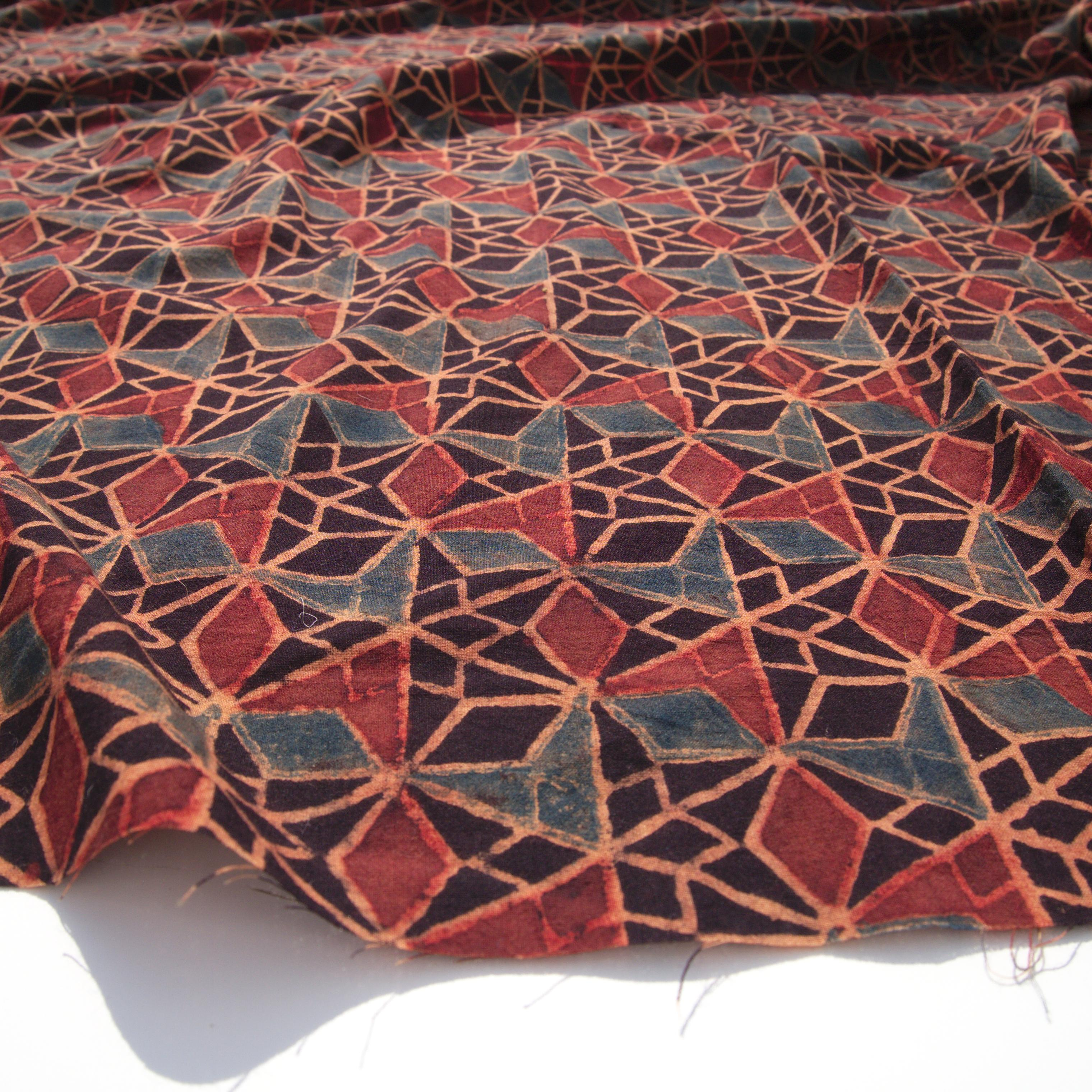 Block Printed Fabric, 100% Cotton, Ajrak Design: Black Base, Madder Root Red, Blue Wing. Angle